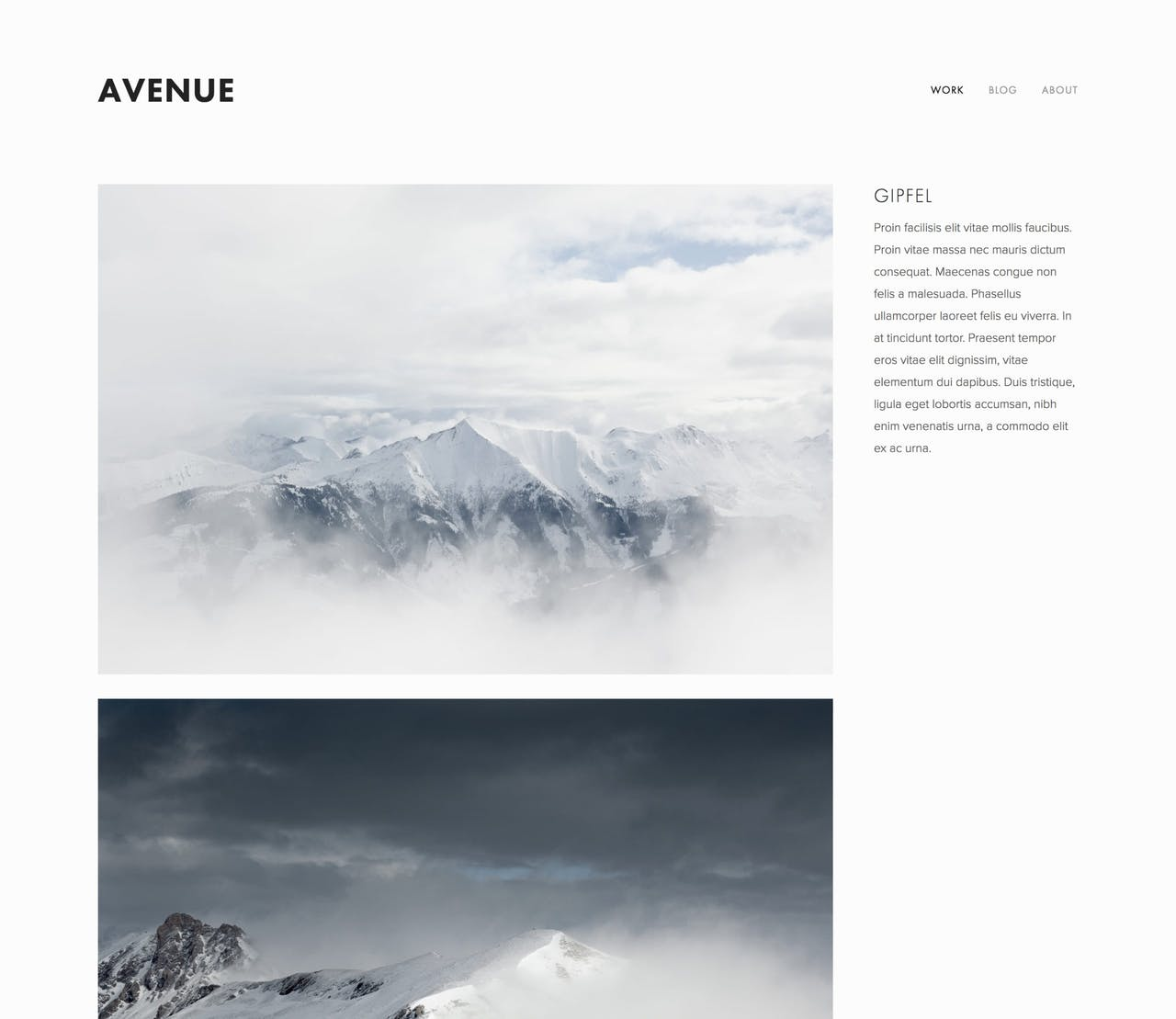 Avenue Template - Preview of the individual project layout with big images left and description right Screenshot