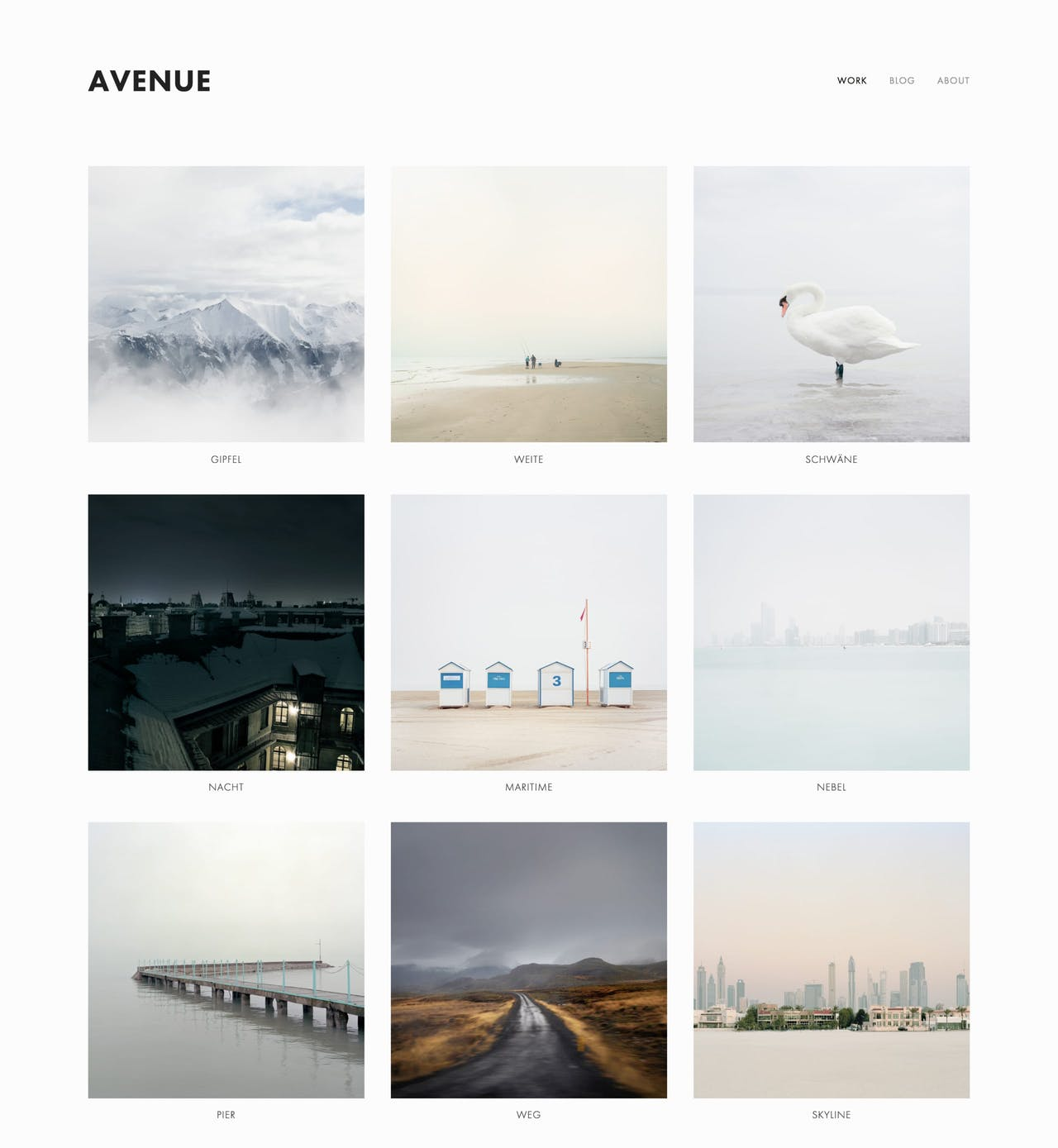 Avenue Template - Home page is a portfolio grid layout Screenshot