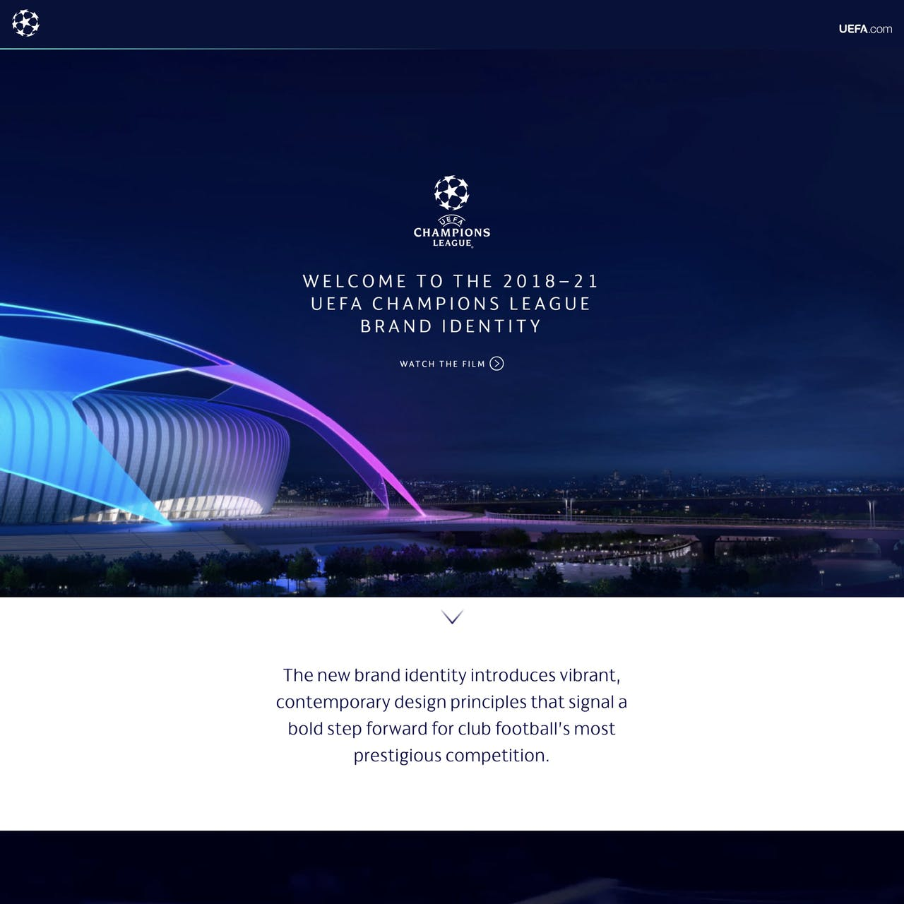 UEFA Champions League Branding Website Screenshot