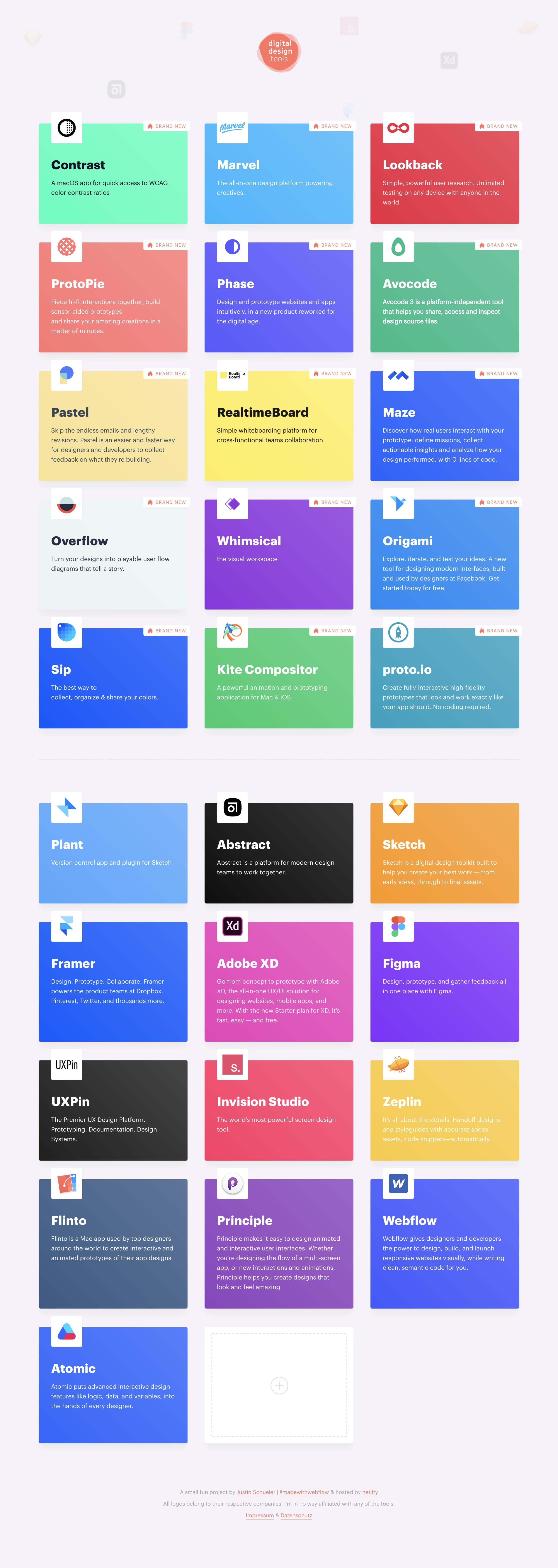 Digital Design Tools Website Screenshot