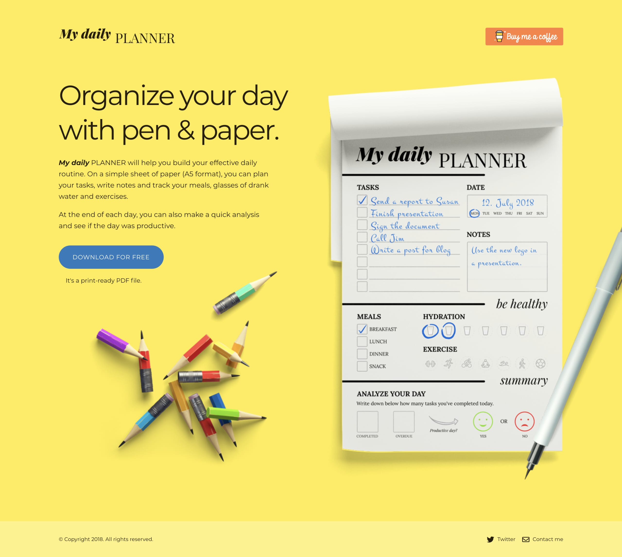 My Daily Planner Website Screenshot