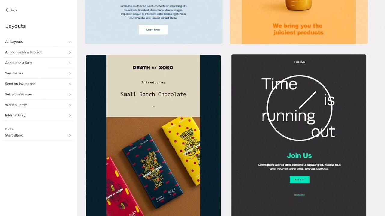 Choose an Email design Screenshot