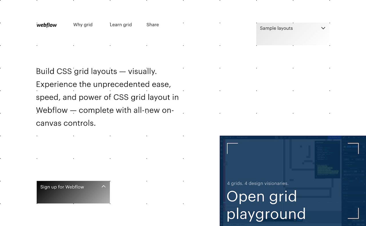 Build CSS Grid Layouts Visually – Webflow Website Screenshot