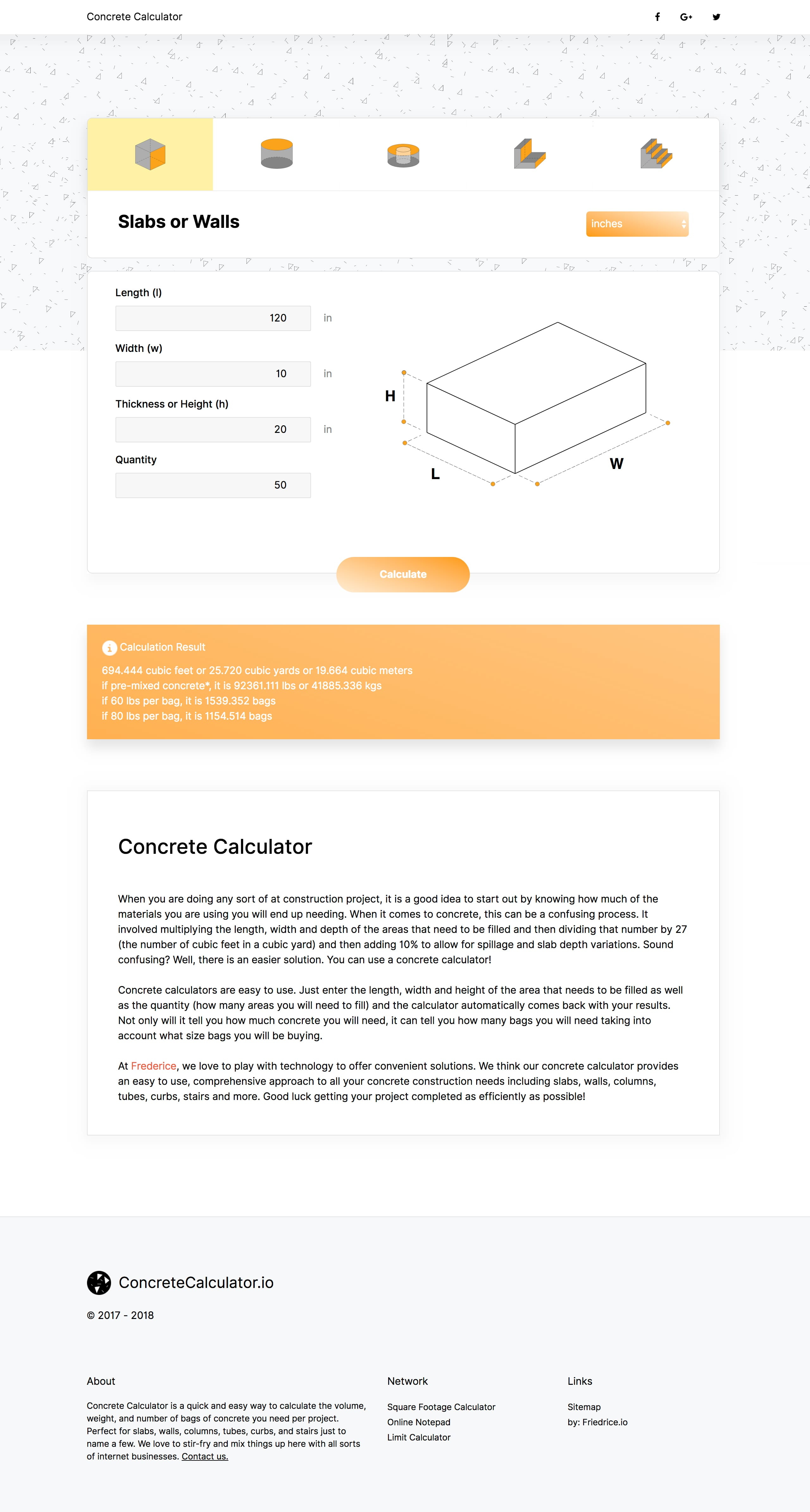 Concrete Calculator - One Page Website Award