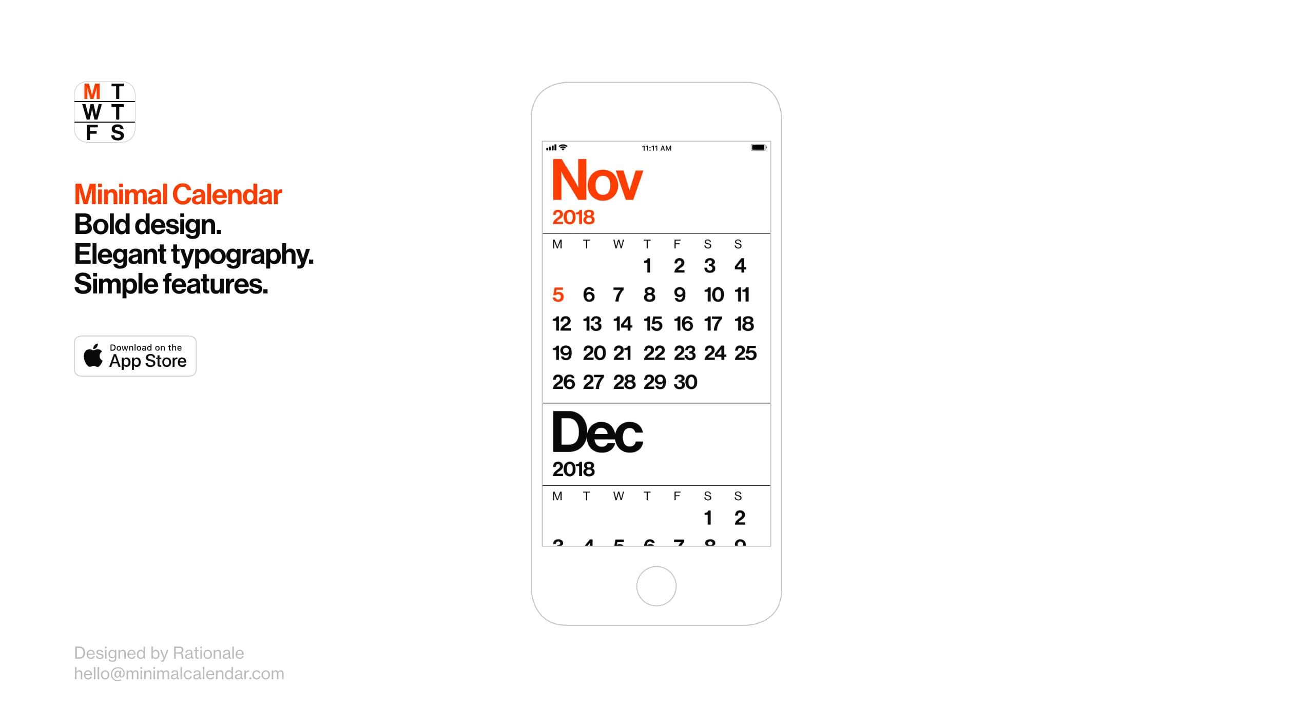 Minimal Calendar - One Page Website Award