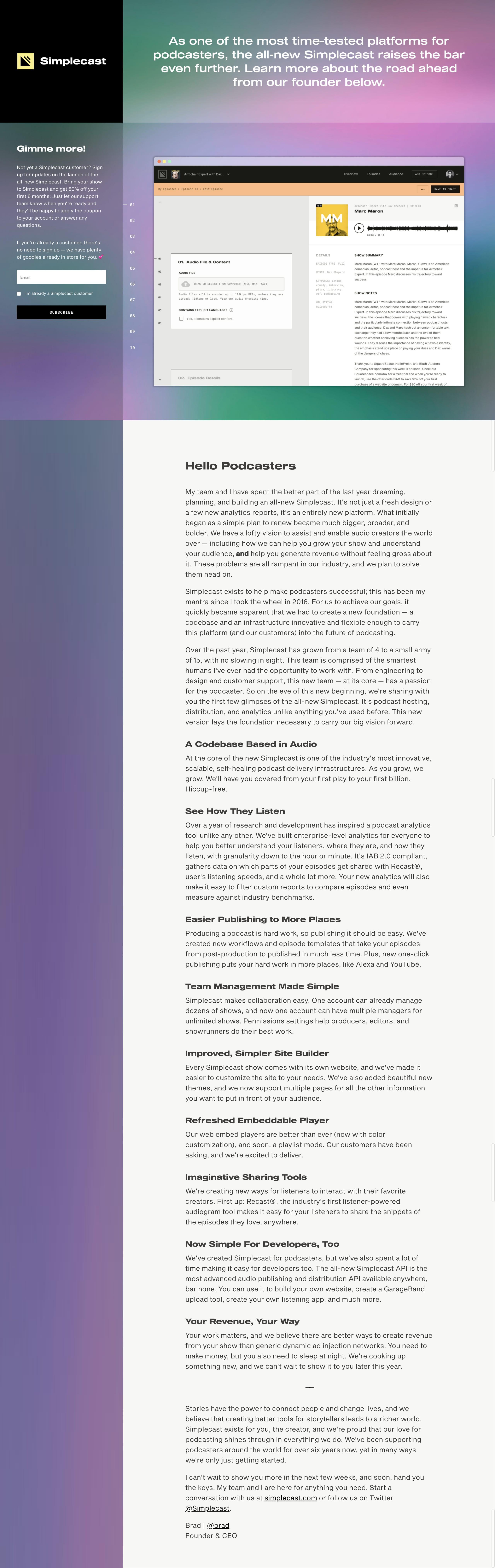 Simplecast 2.0 Website Screenshot