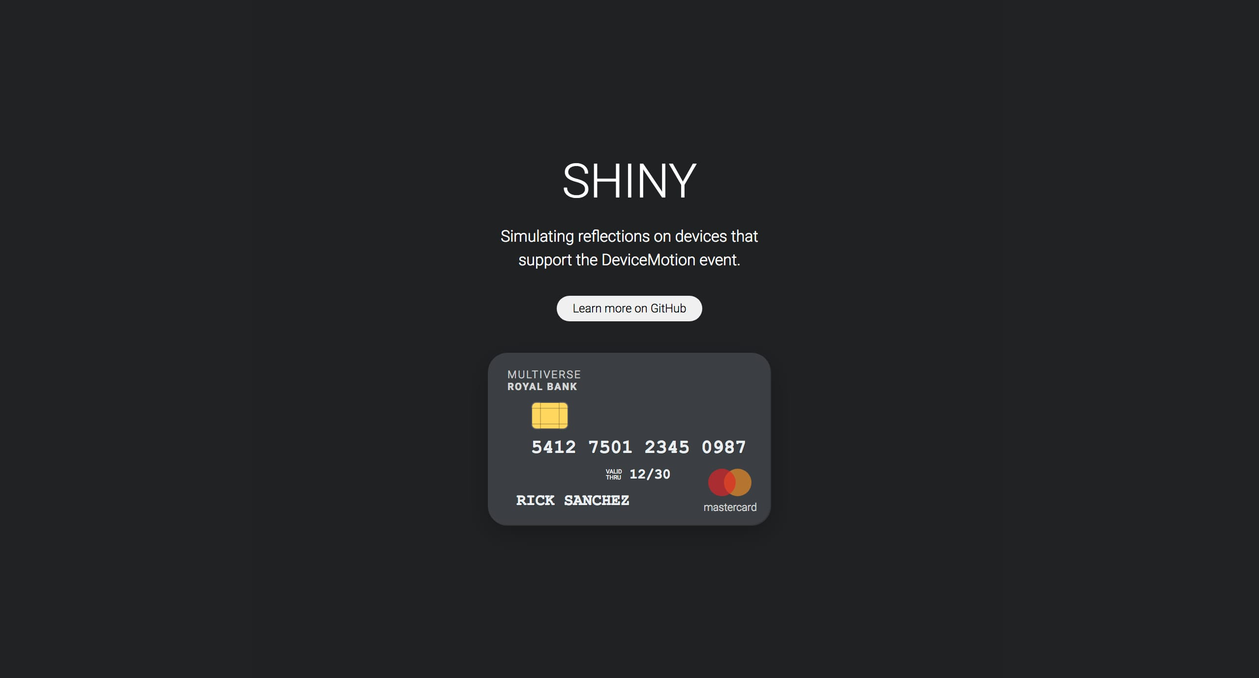 Shiny.js Website Screenshot