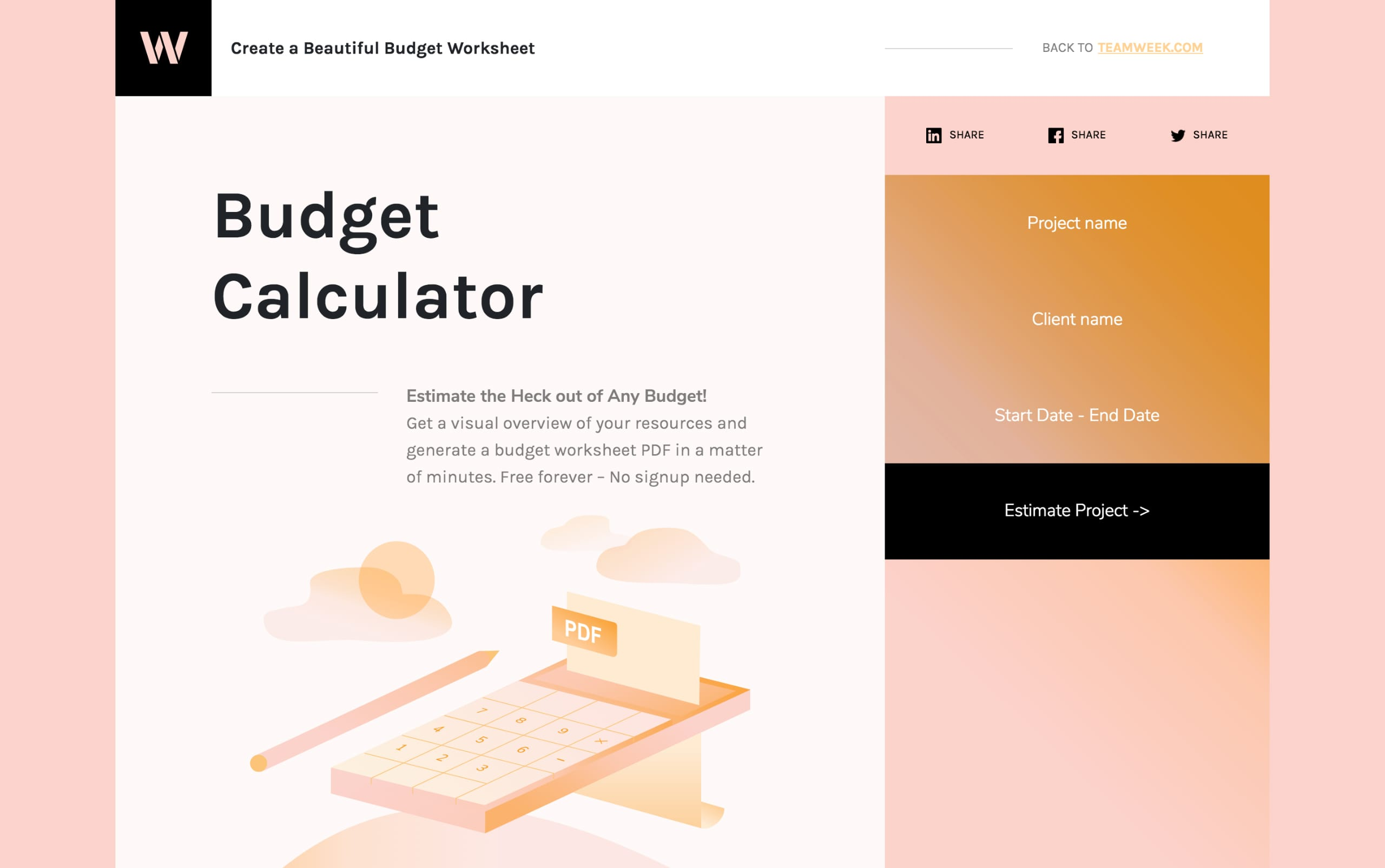 Budget Calculator Website Screenshot