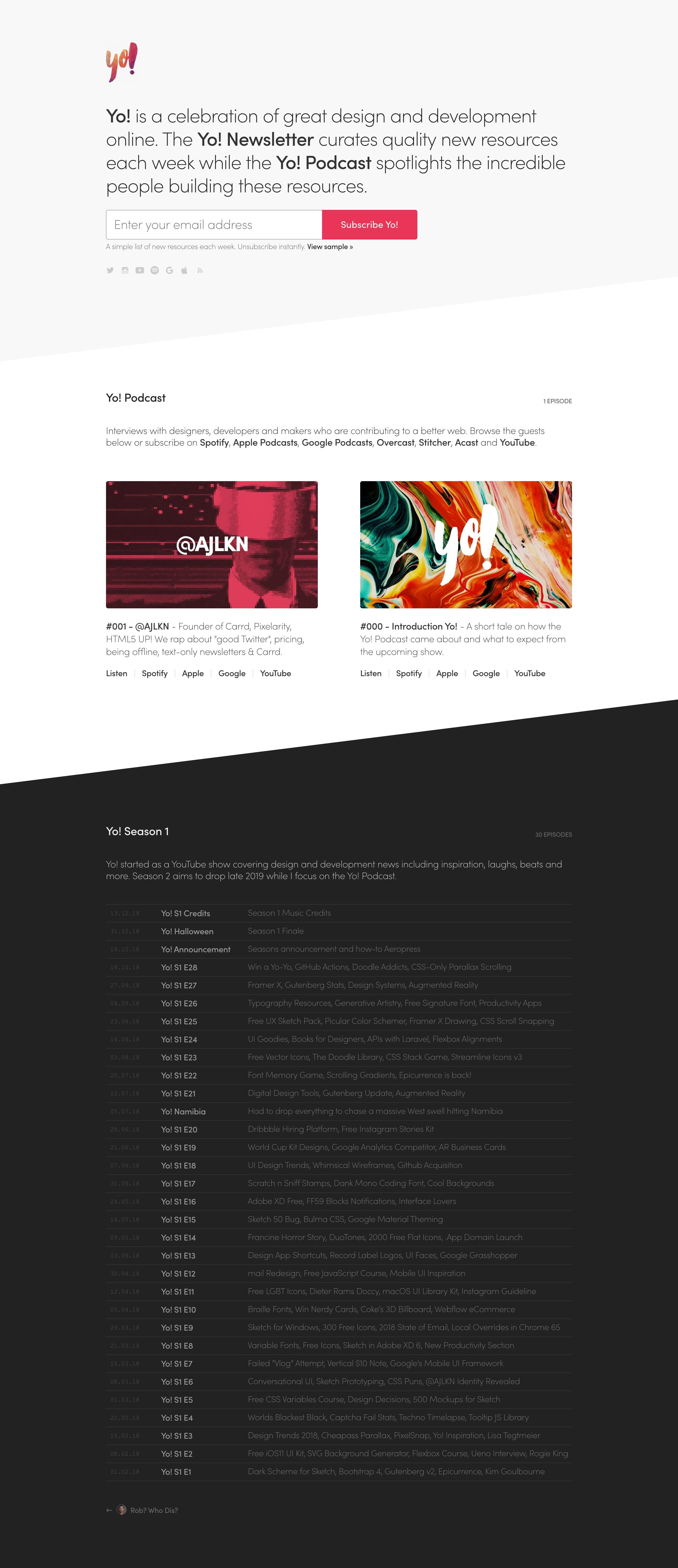 Yo! Website Screenshot