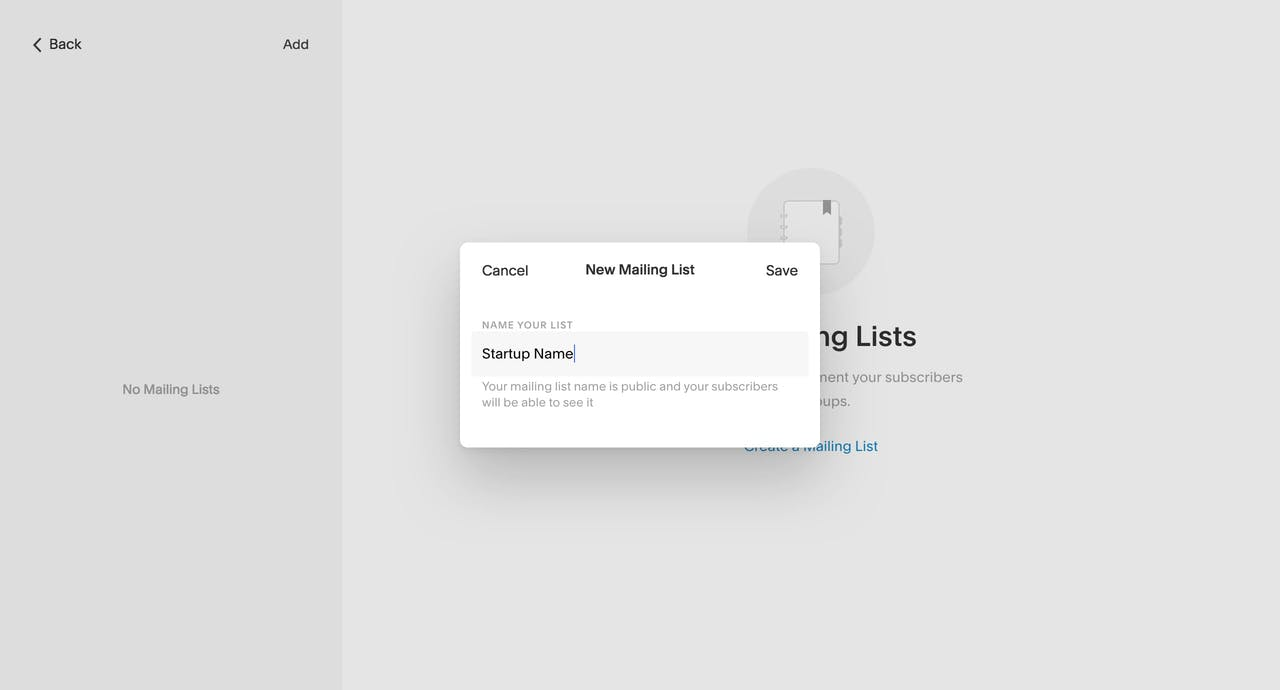 Create a Mailing List options: Screenshot