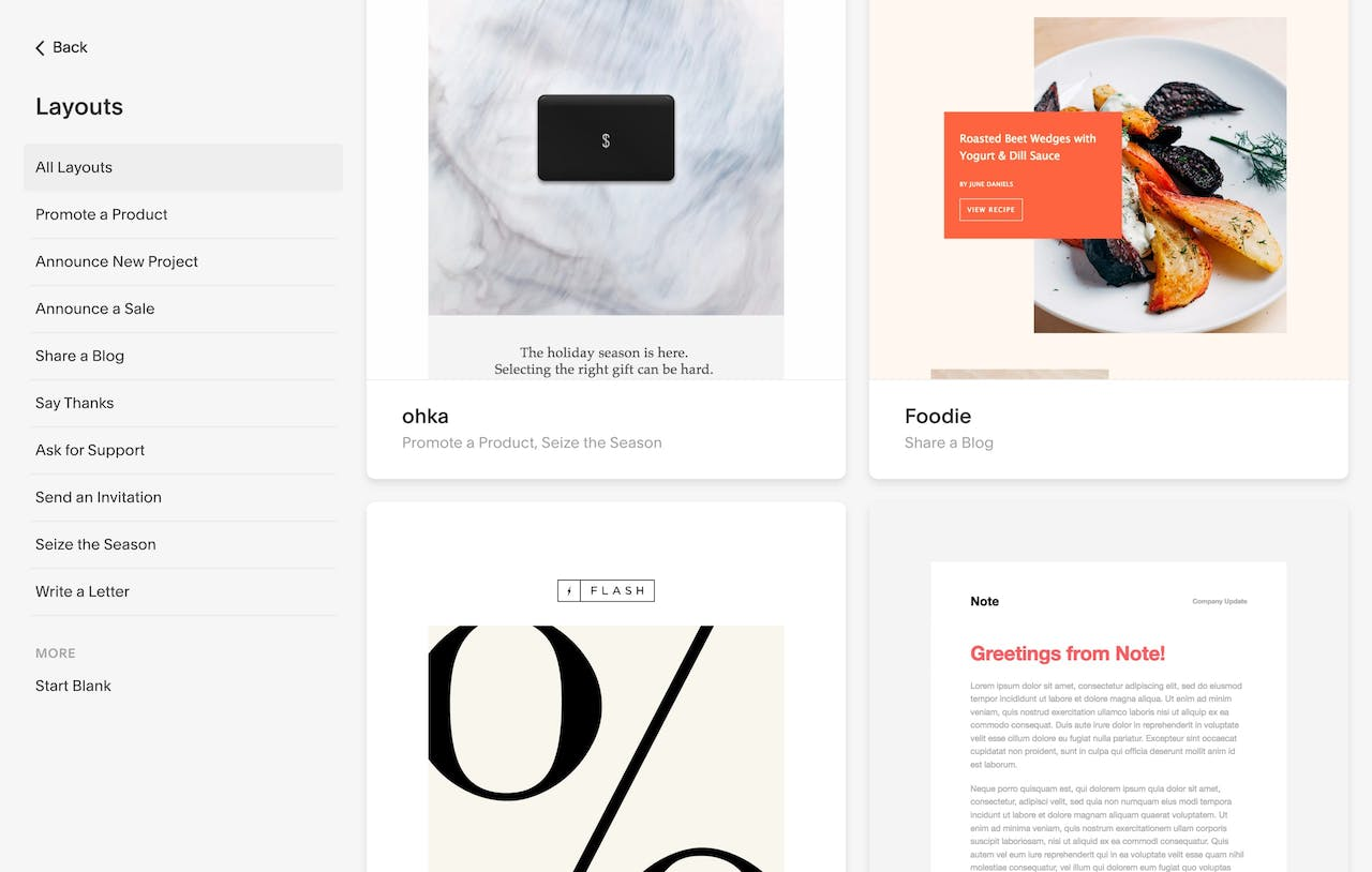 Squarespace Email Marketing Campaign Layouts Screenshot
