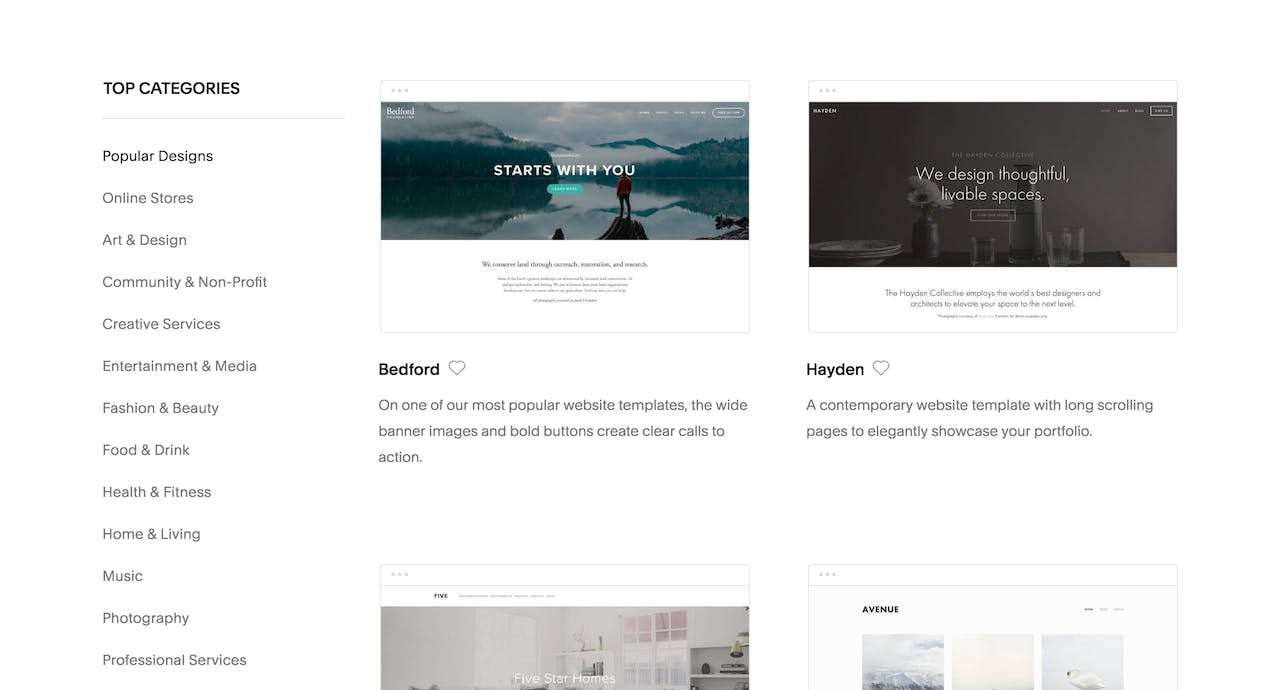 Squarespace Template Collection Screenshot