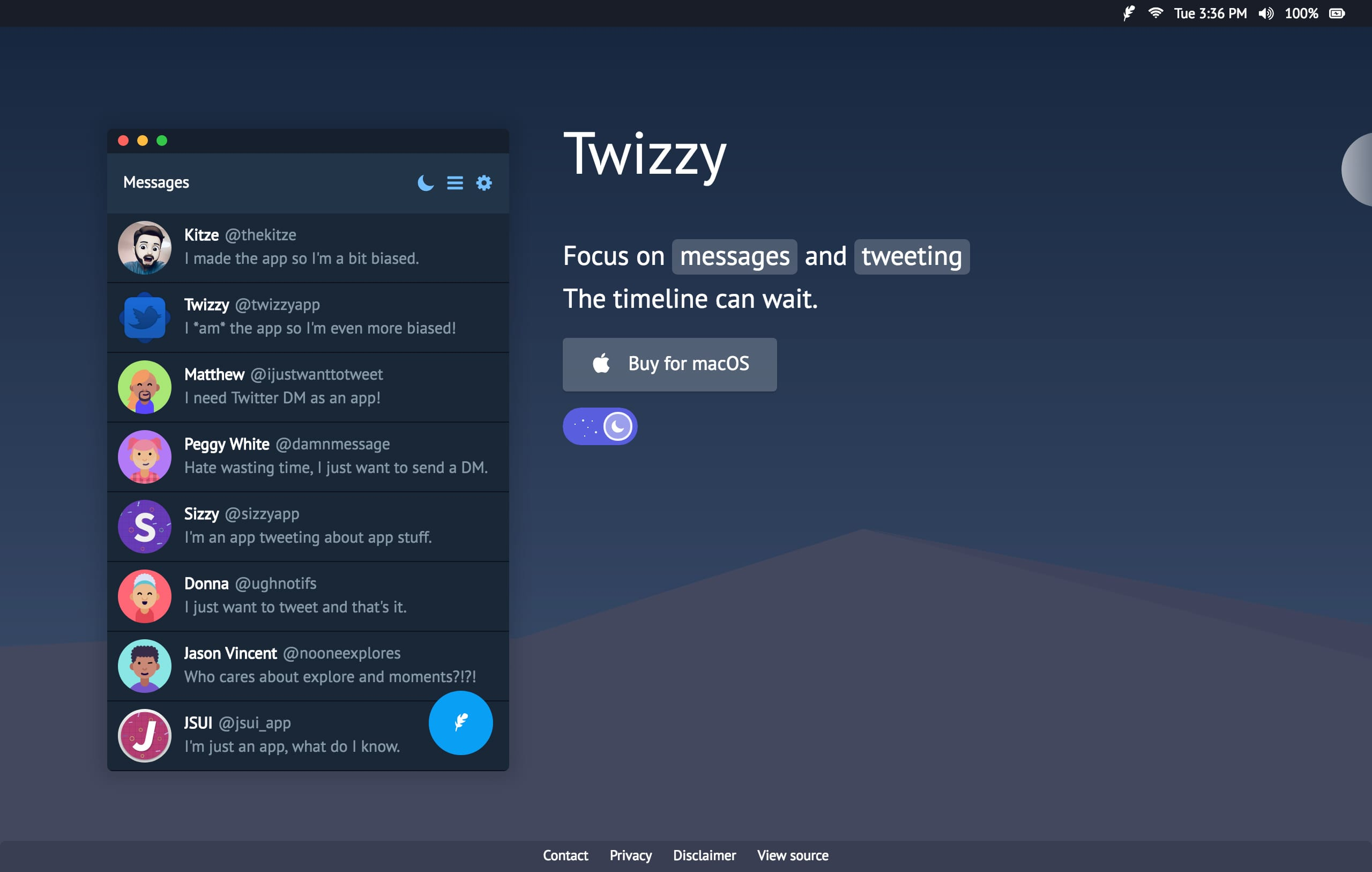 Twizzy Website Screenshot