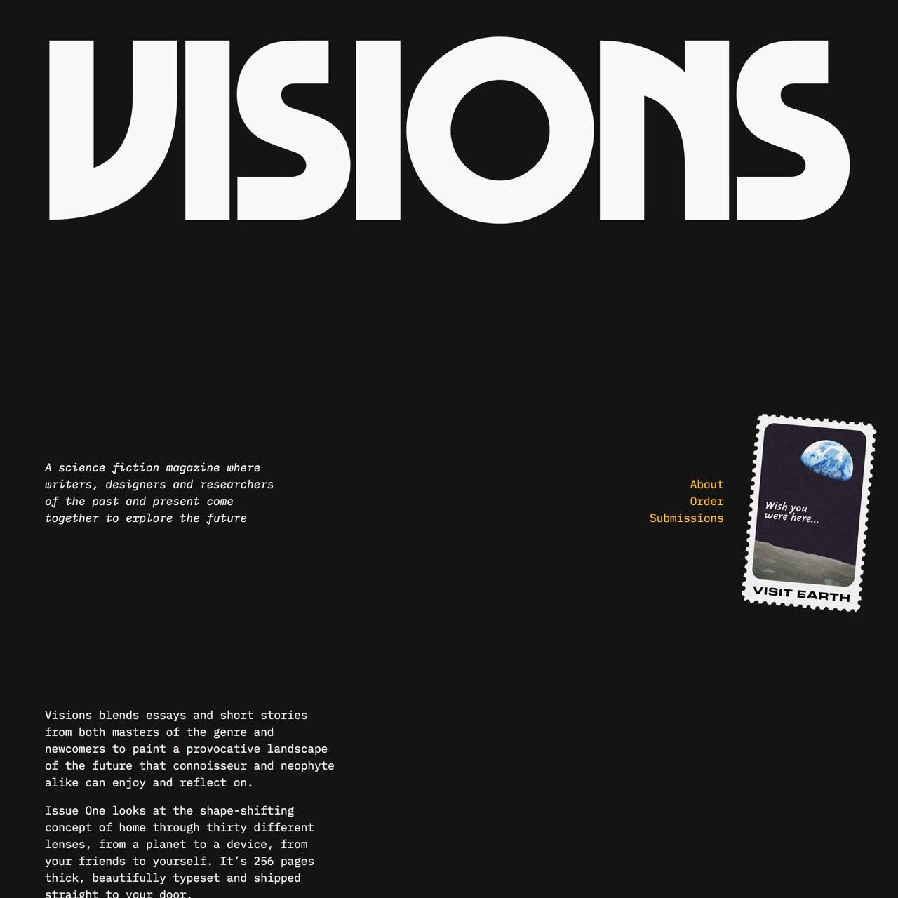 Visions Magazine Website Screenshot