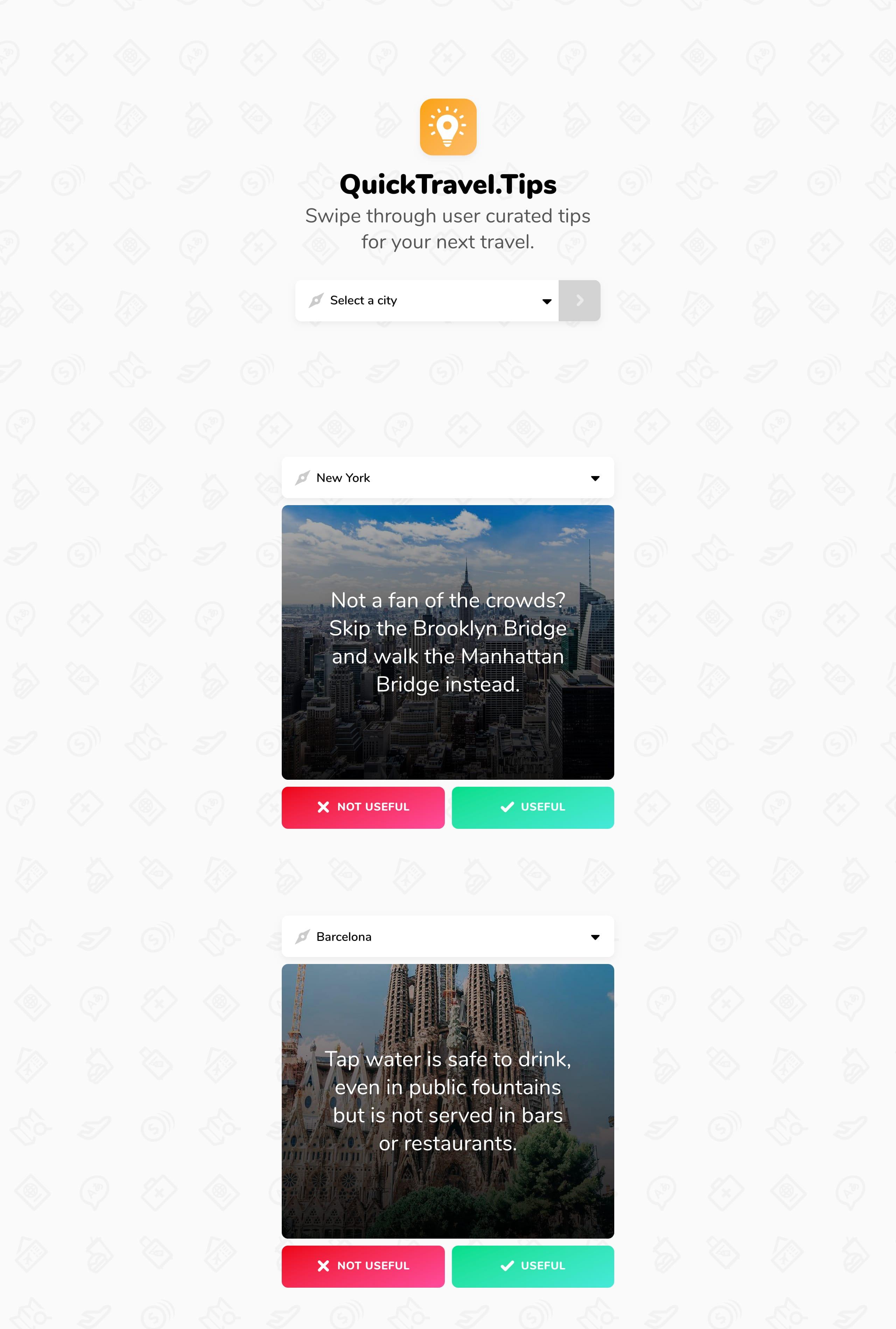 Quick Travel Tips Website Screenshot