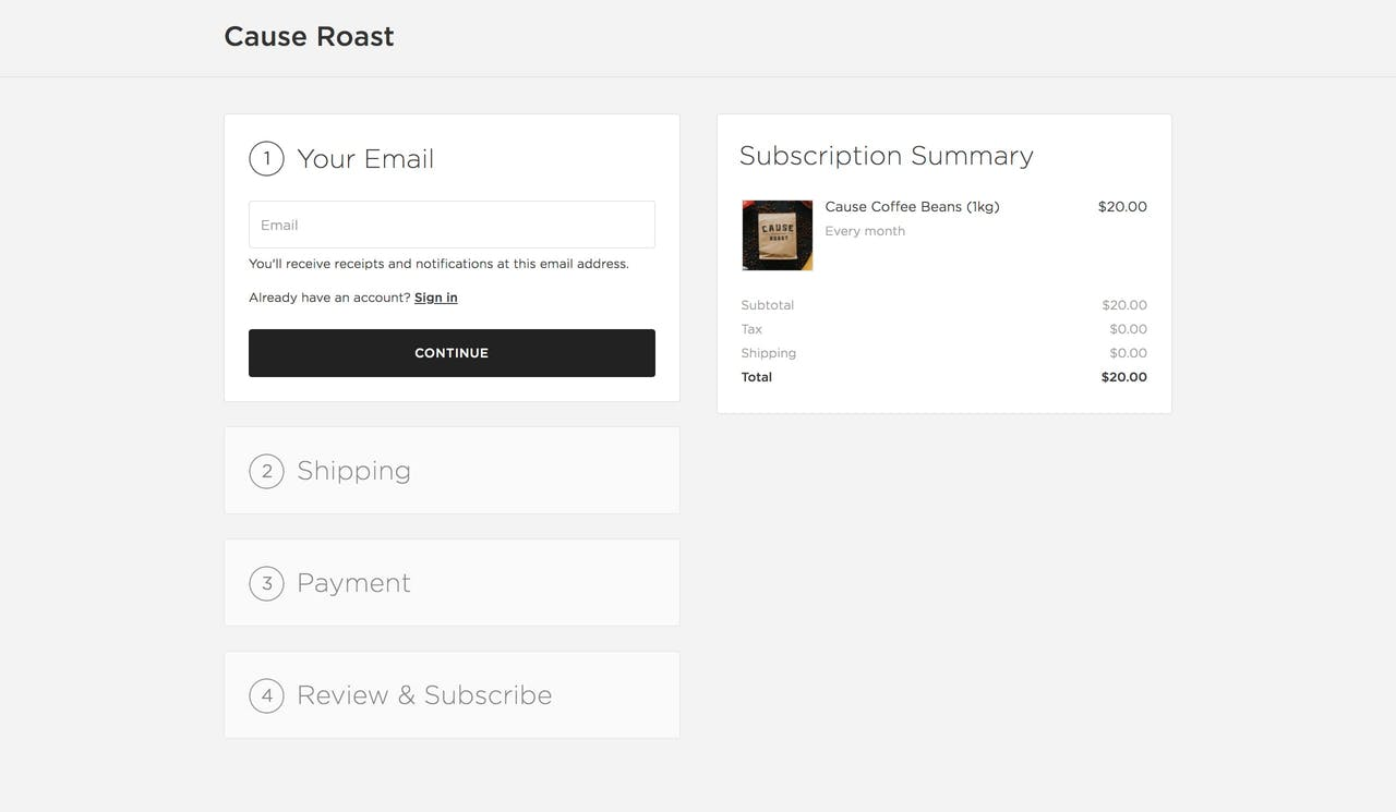 Squarespace subscription check-out process preview Screenshot