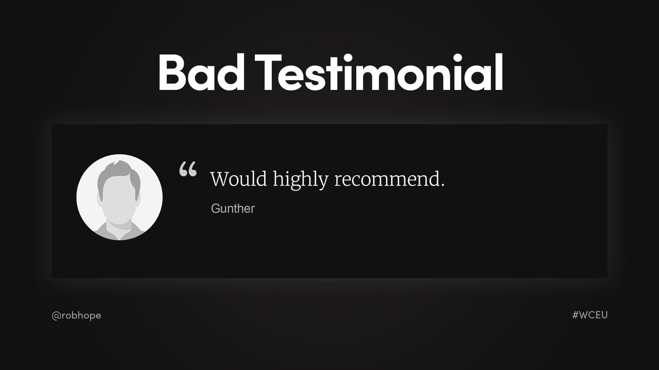 Landing Page - Bad Testimonial example Screenshot