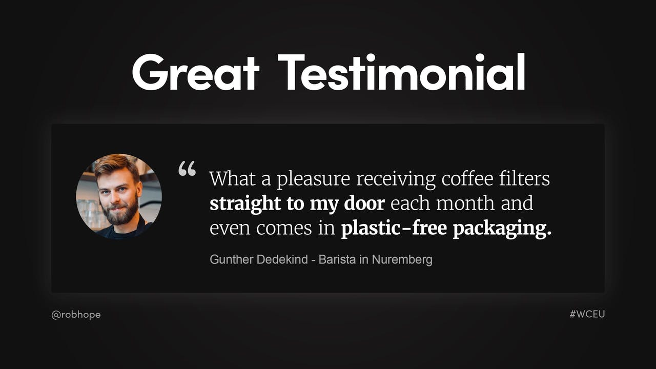 Landing Page - Great Testimonial example Screenshot