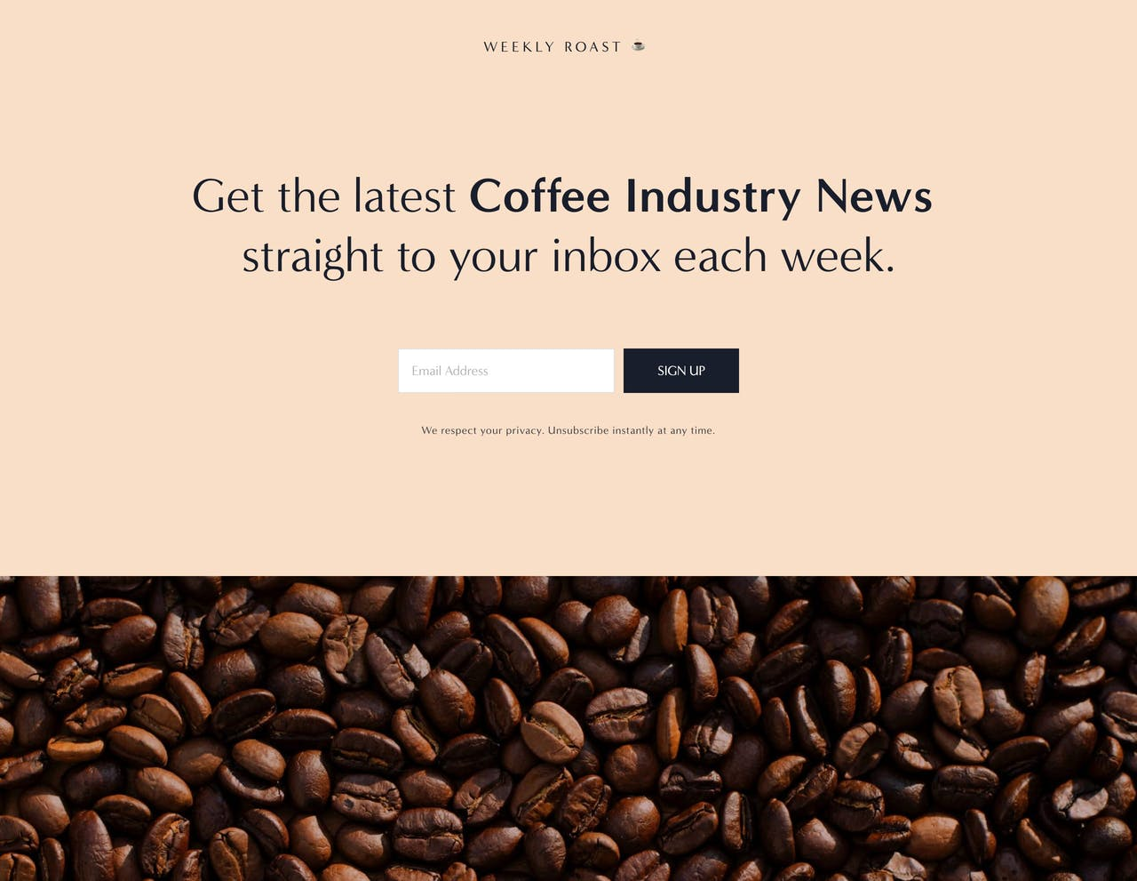 Preview of our Weekly Roast newsletter landing page Screenshot