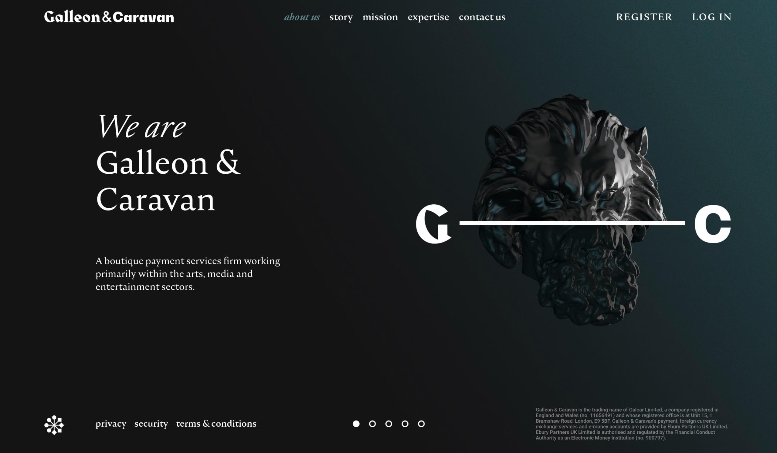 Galleon and Caravan Website Screenshot