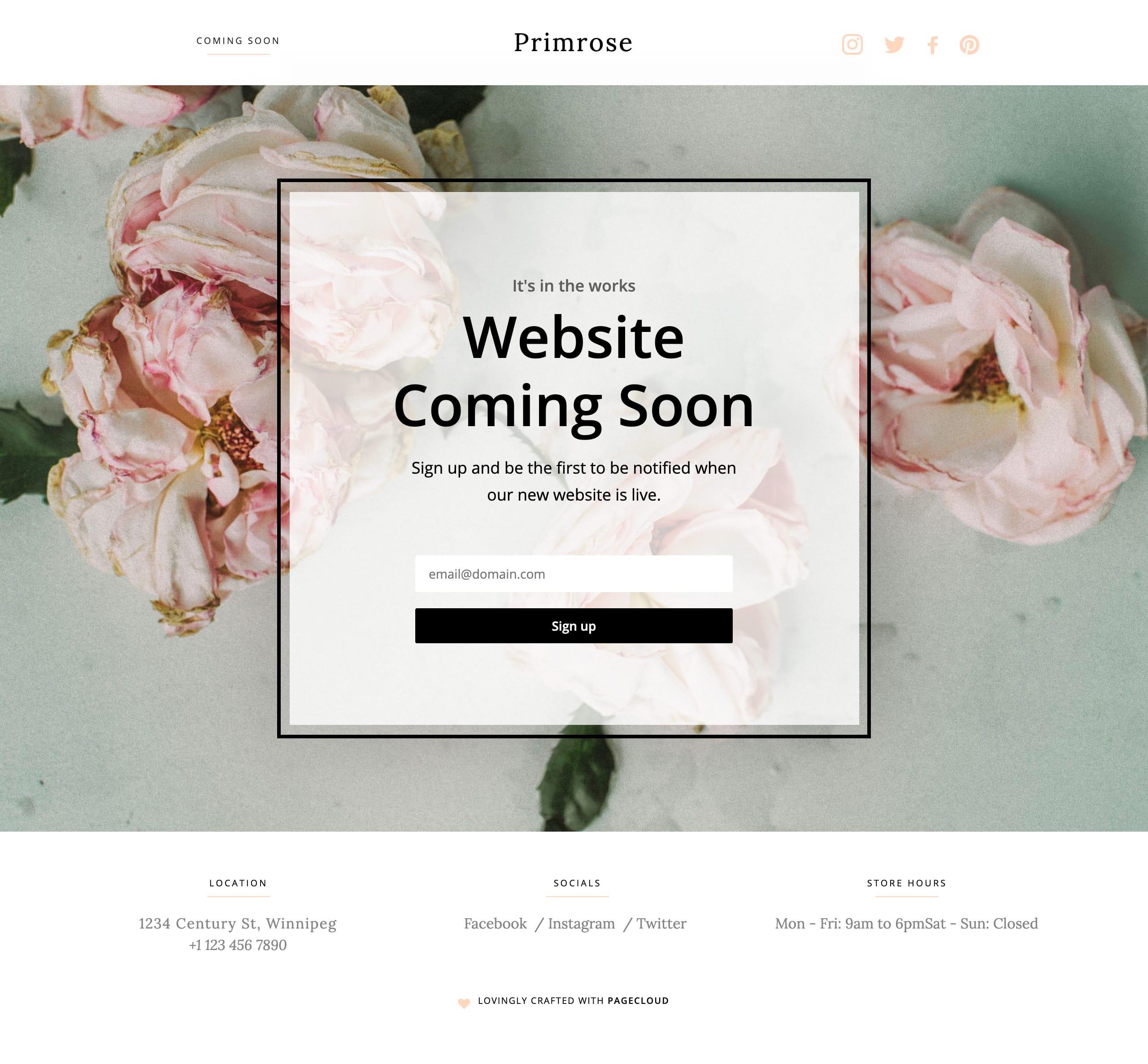 Primrose Website Screenshot