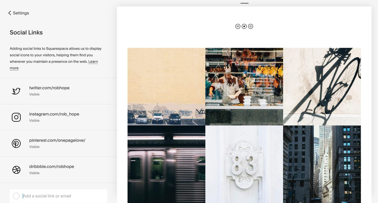 Squarespace social media connection options with Instagram feed preview Screenshot