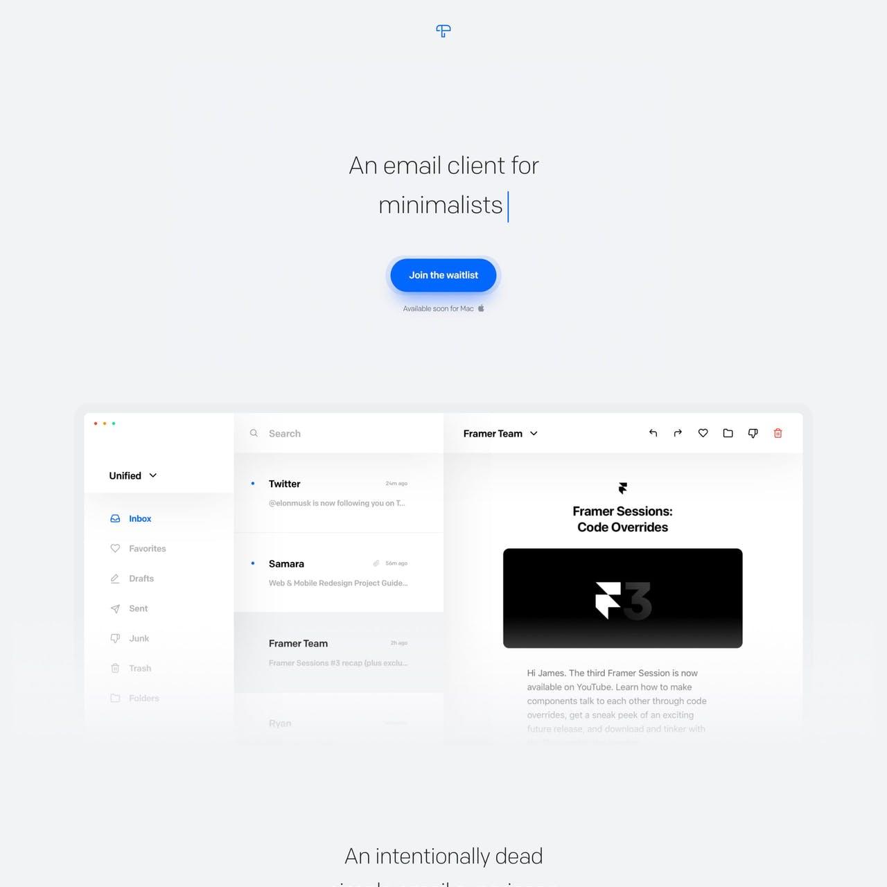 TinyMail Website Screenshot