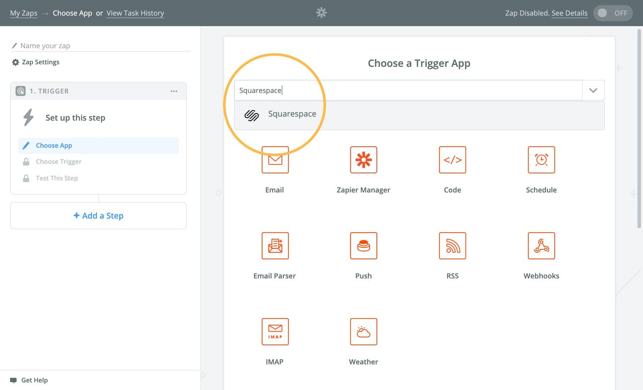 Choosing the Squarespace Trigger app in Zapier Screenshot