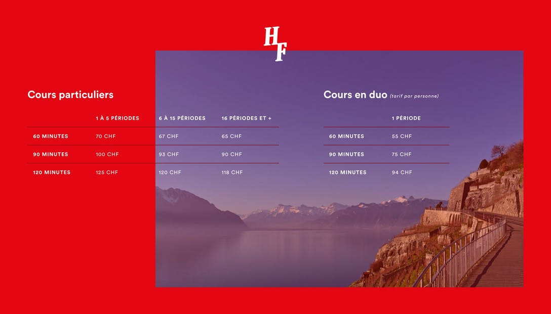 Horizons Francophones Lausanne Pricing Table
