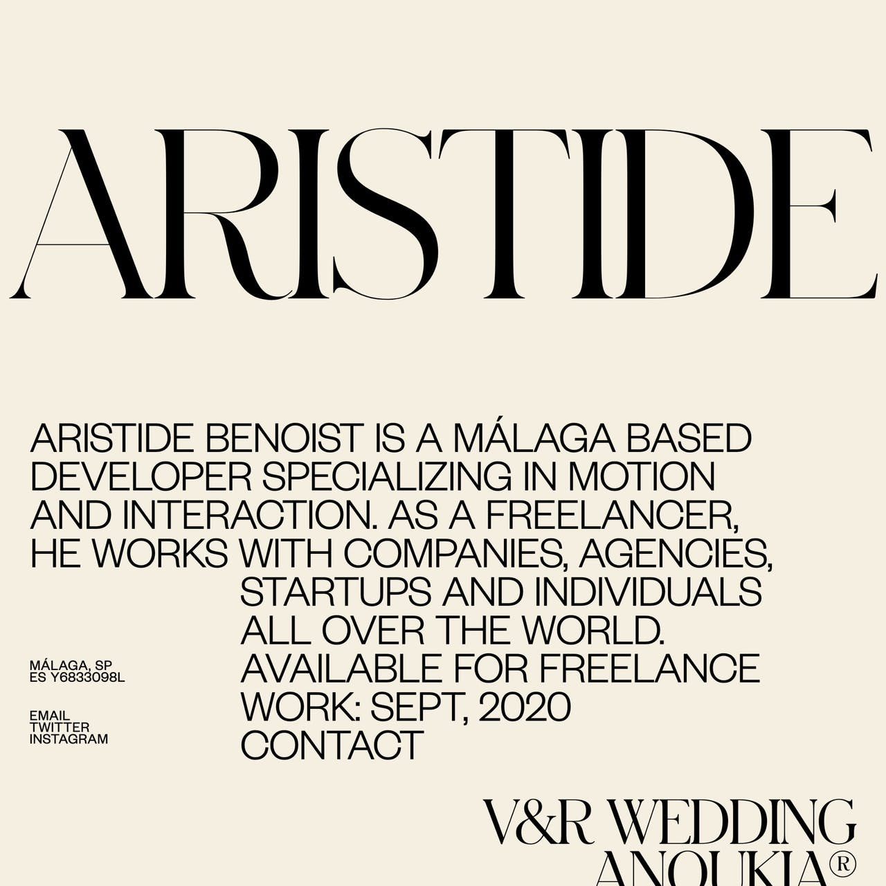 Aristide Benoist Website Screenshot