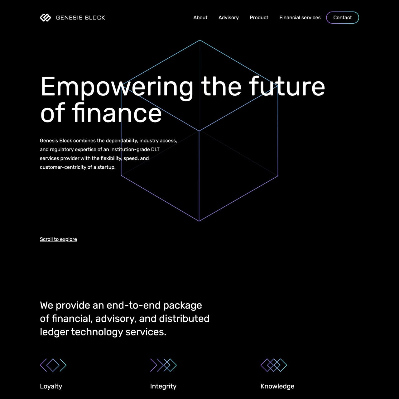 Genesis Block Website Screenshot