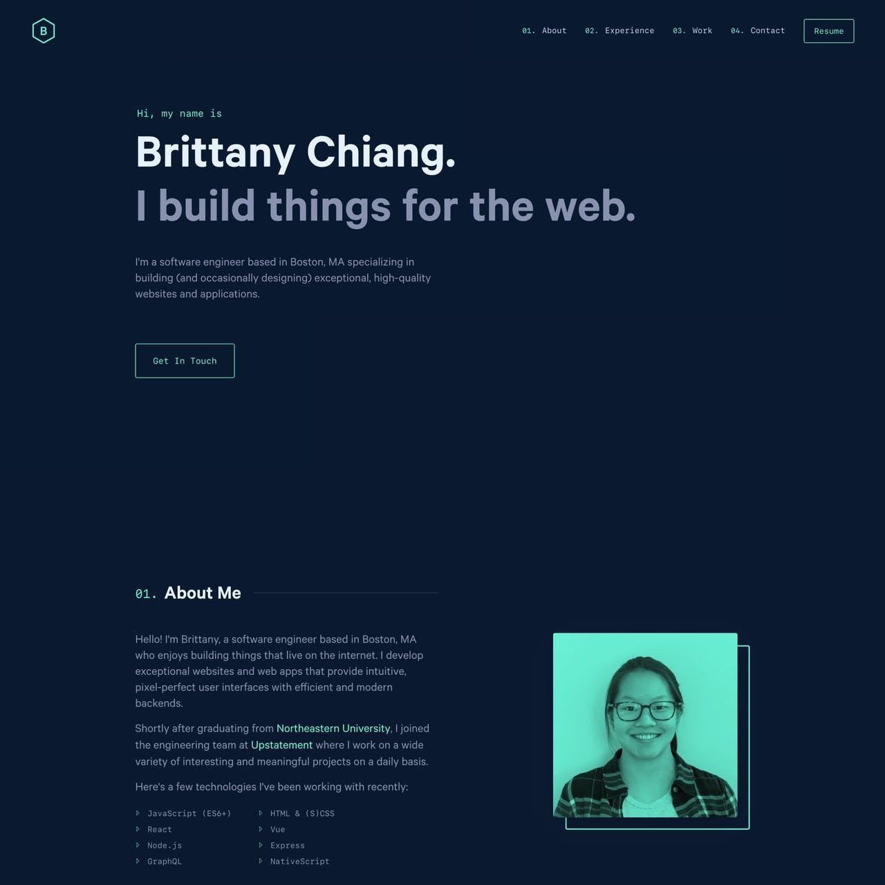 Brittany Chiang Website Screenshot