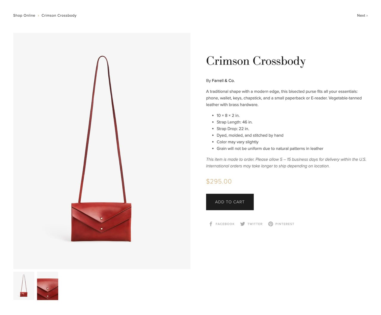 Squarespace Hyde Template - Product Page Screenshot