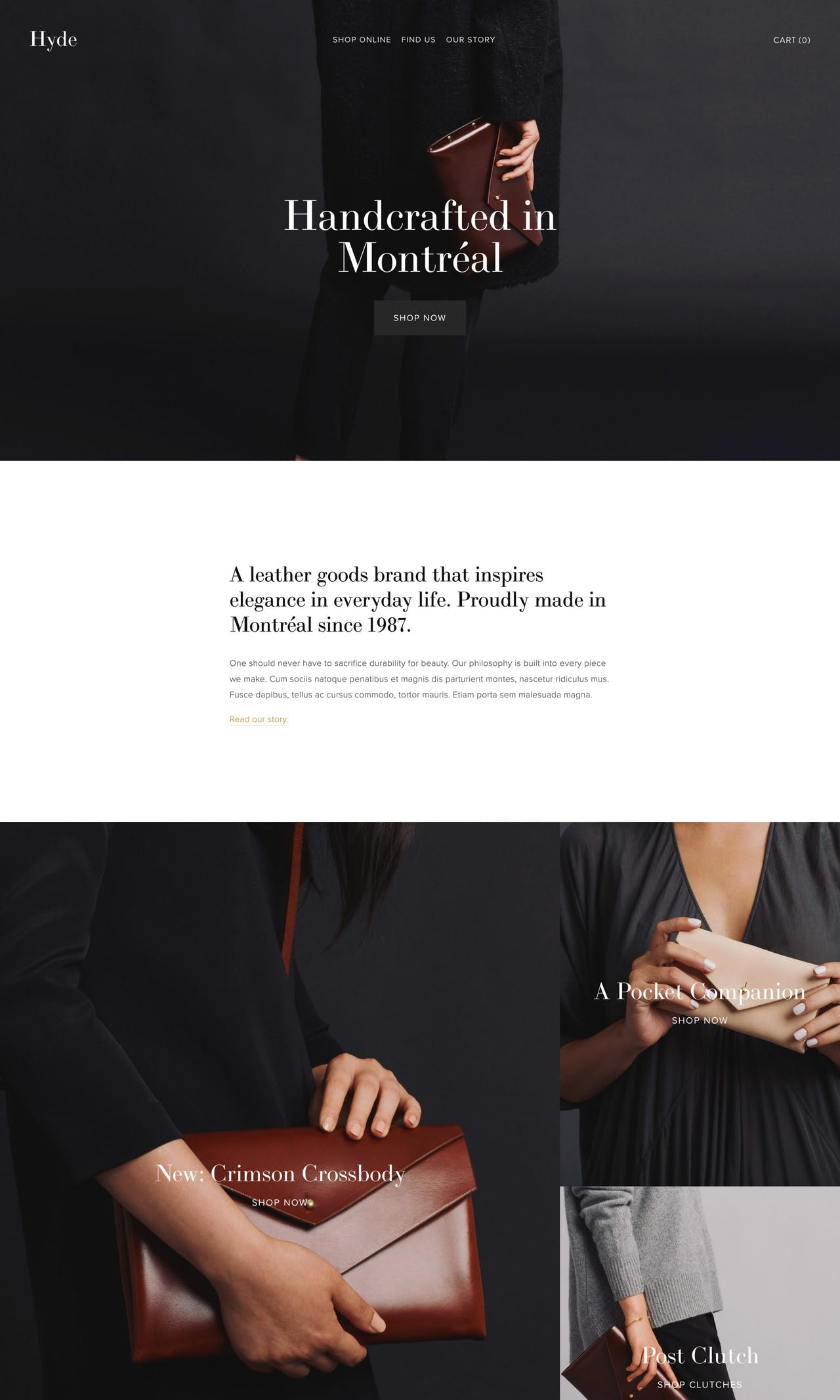 Squarespace Hyde Template - Home Page Screenshot