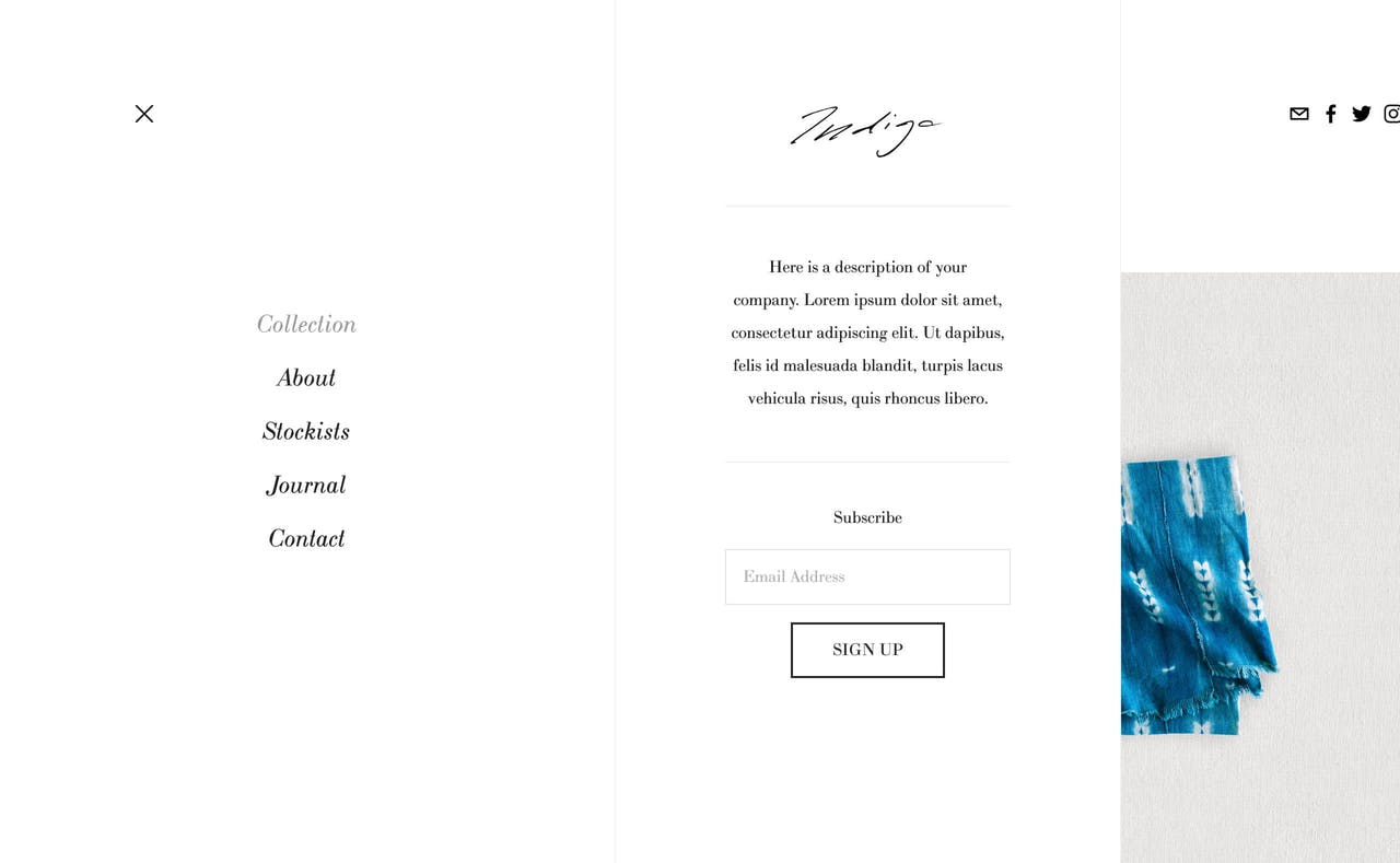 Squarespace Indigo Template - Menu Open Screenshot