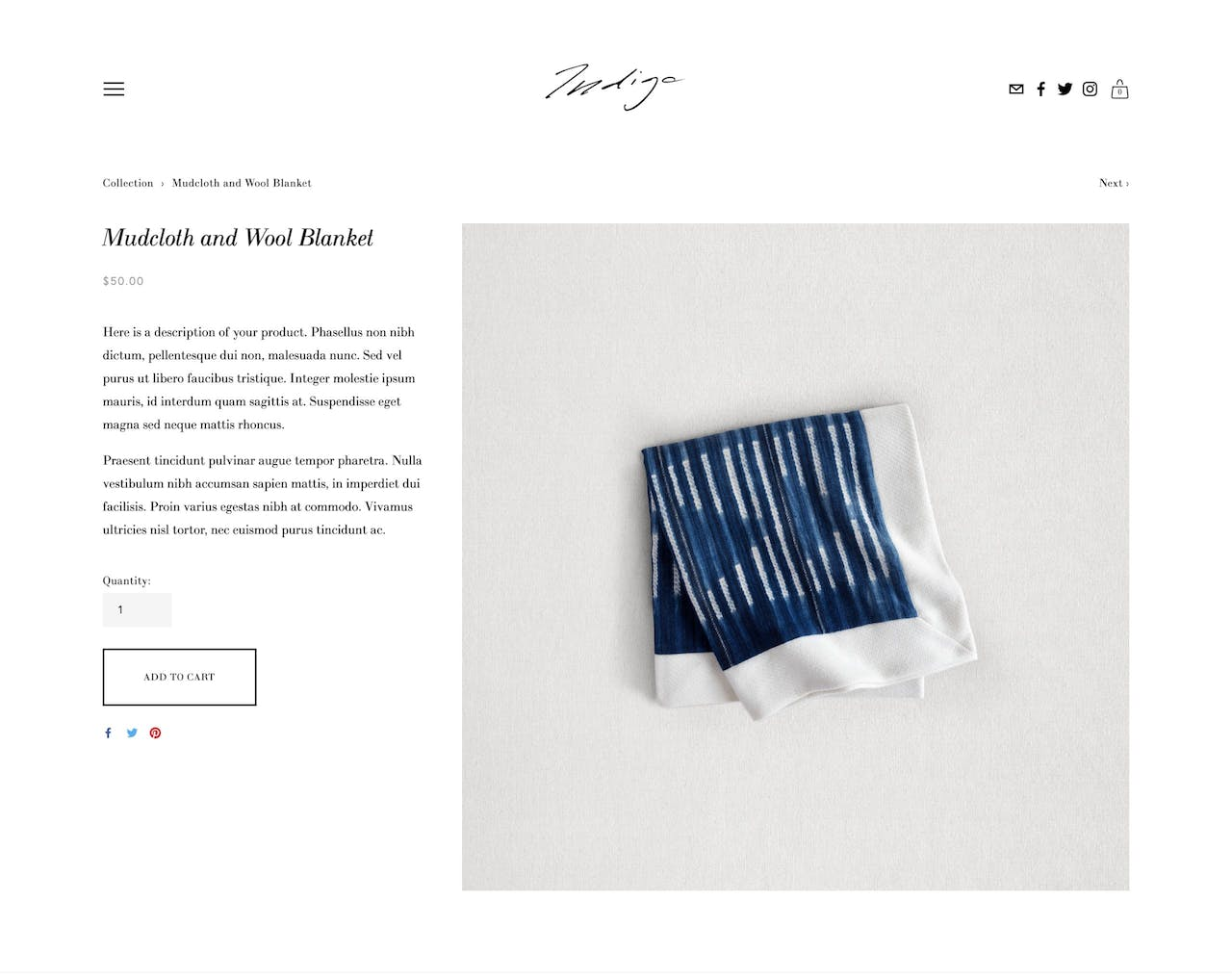 Squarespace Indigo Template - Product Page Screenshot