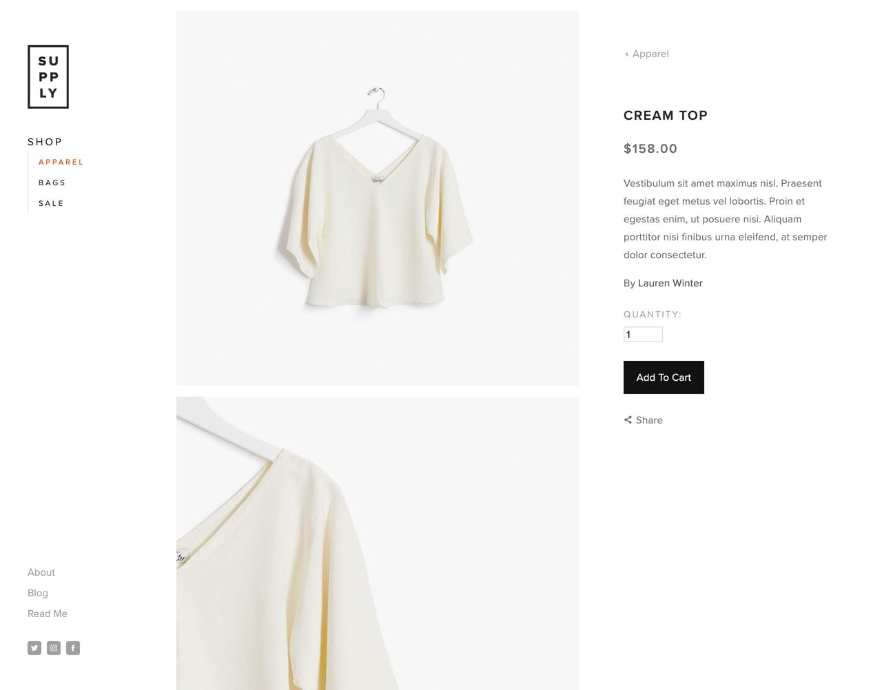 Squarespace Supply Template - Product Page Screenshot