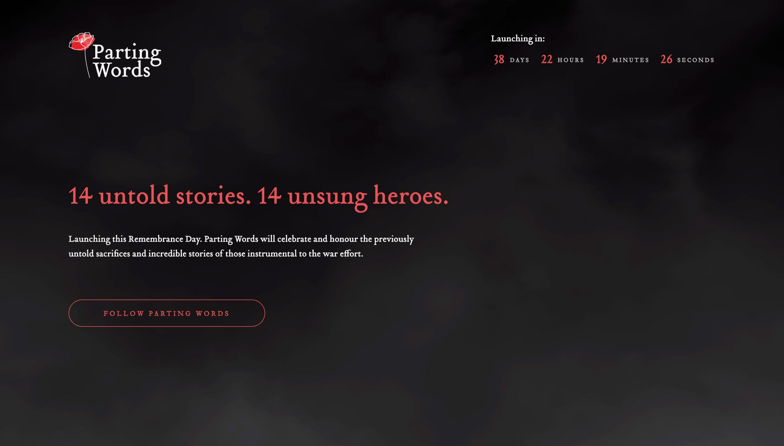 Parting Words Website Screenshot