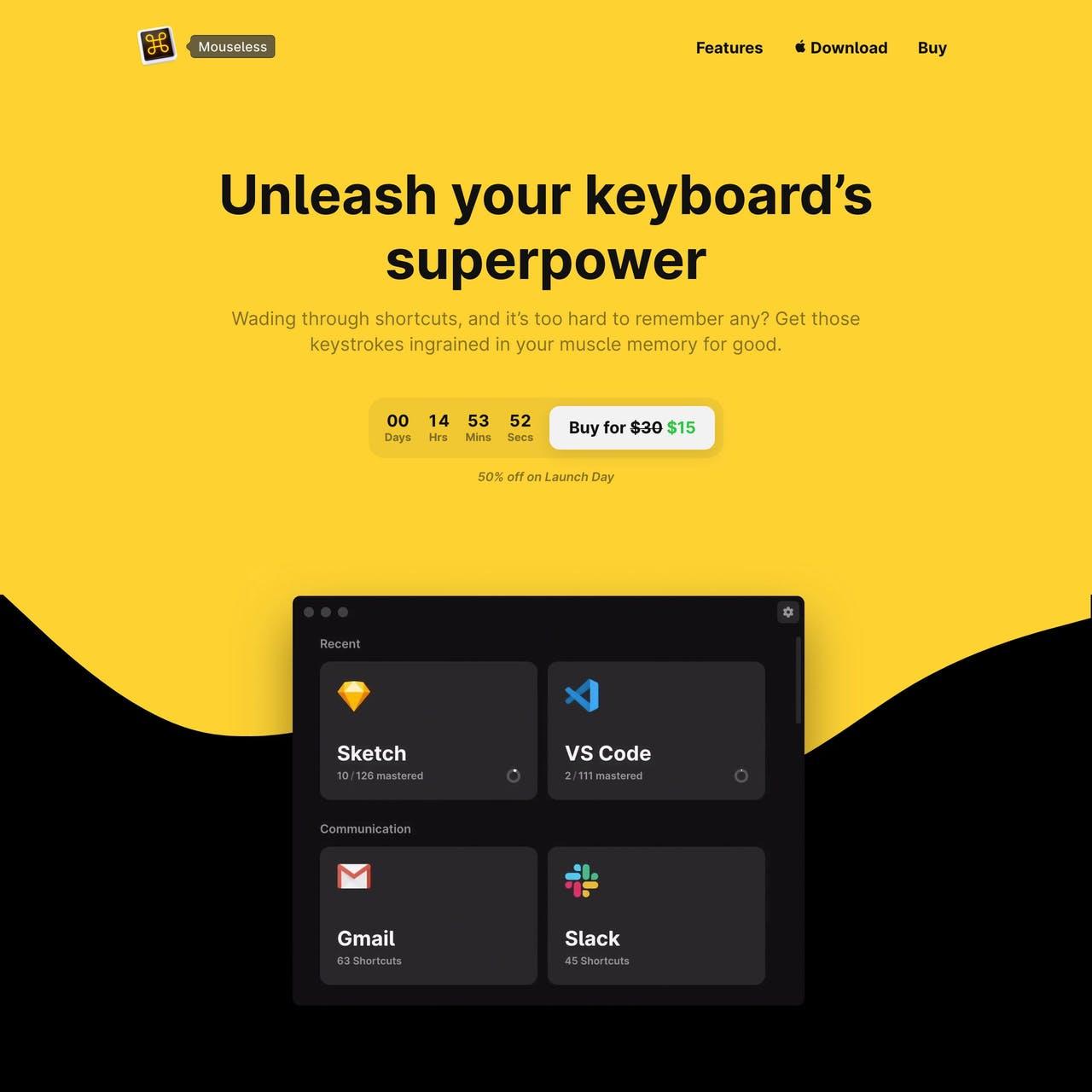 Mouseless Website Screenshot