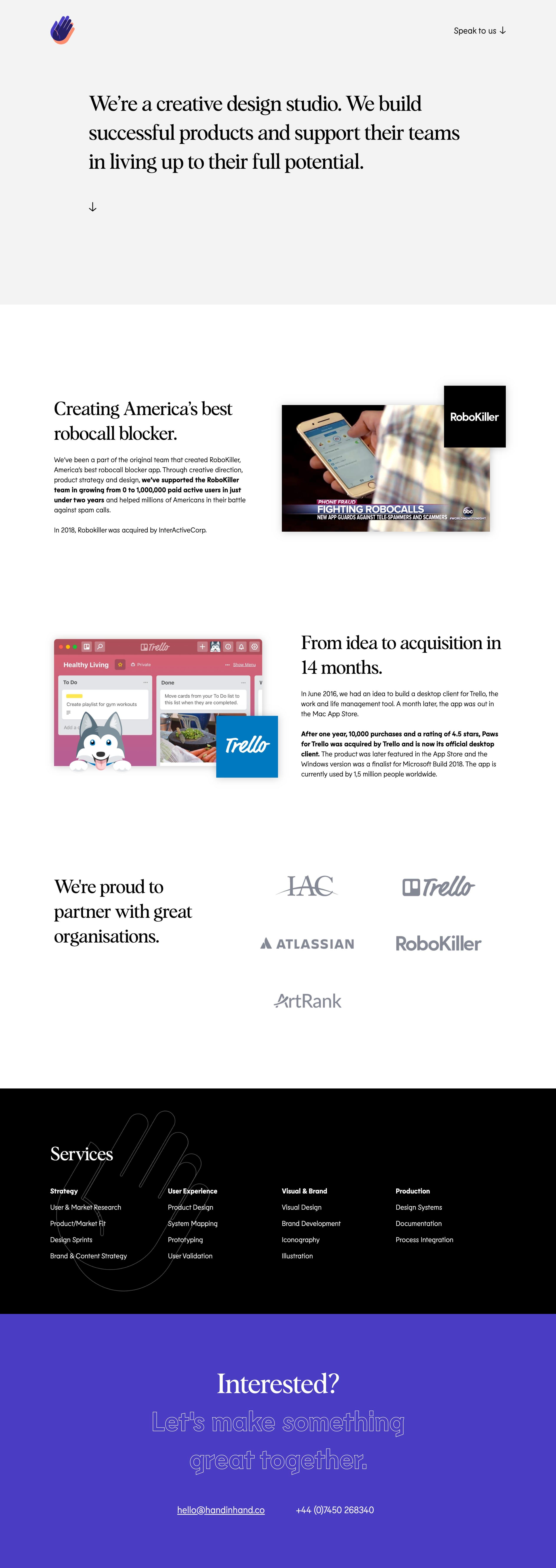 Hand In Hand Website Screenshot