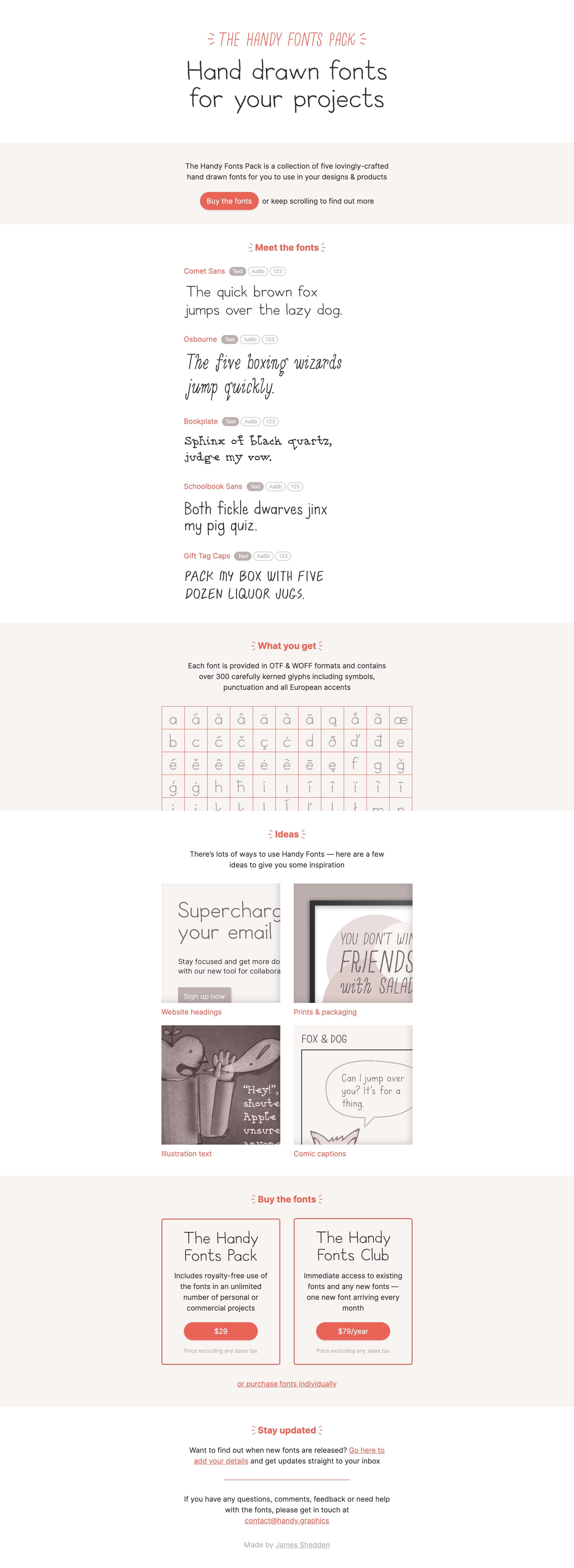 Handy Fonts Website Screenshot