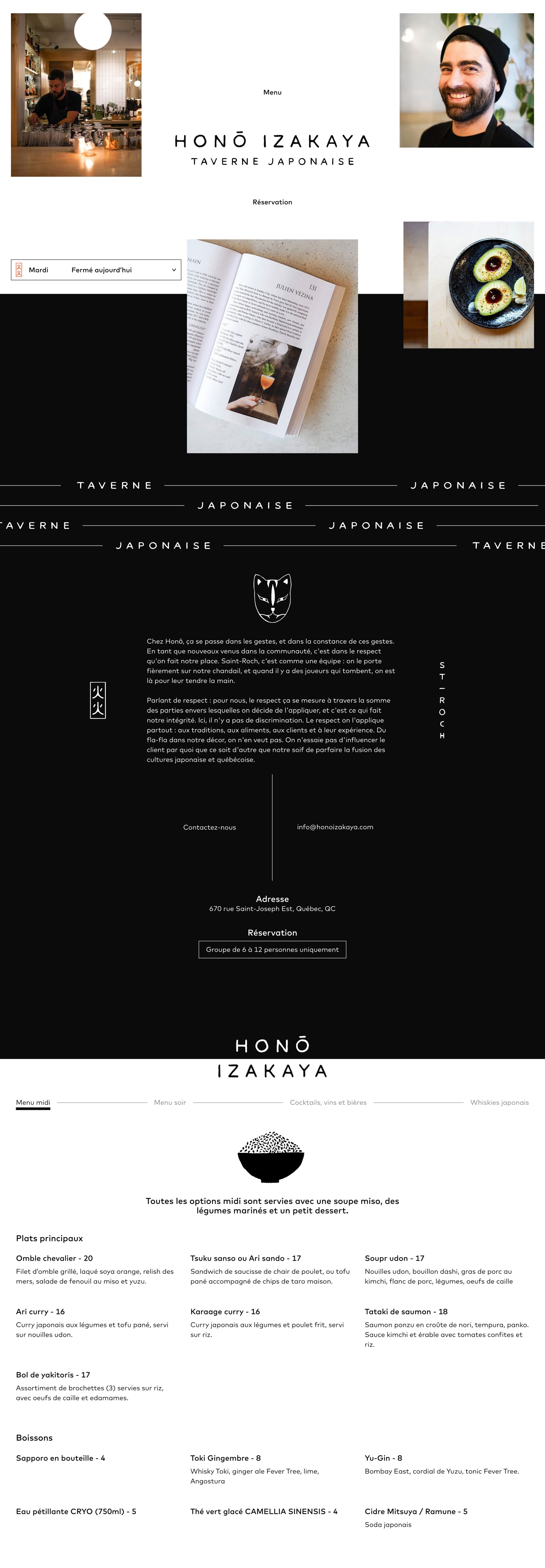 Hono Izakaya Website Screenshot