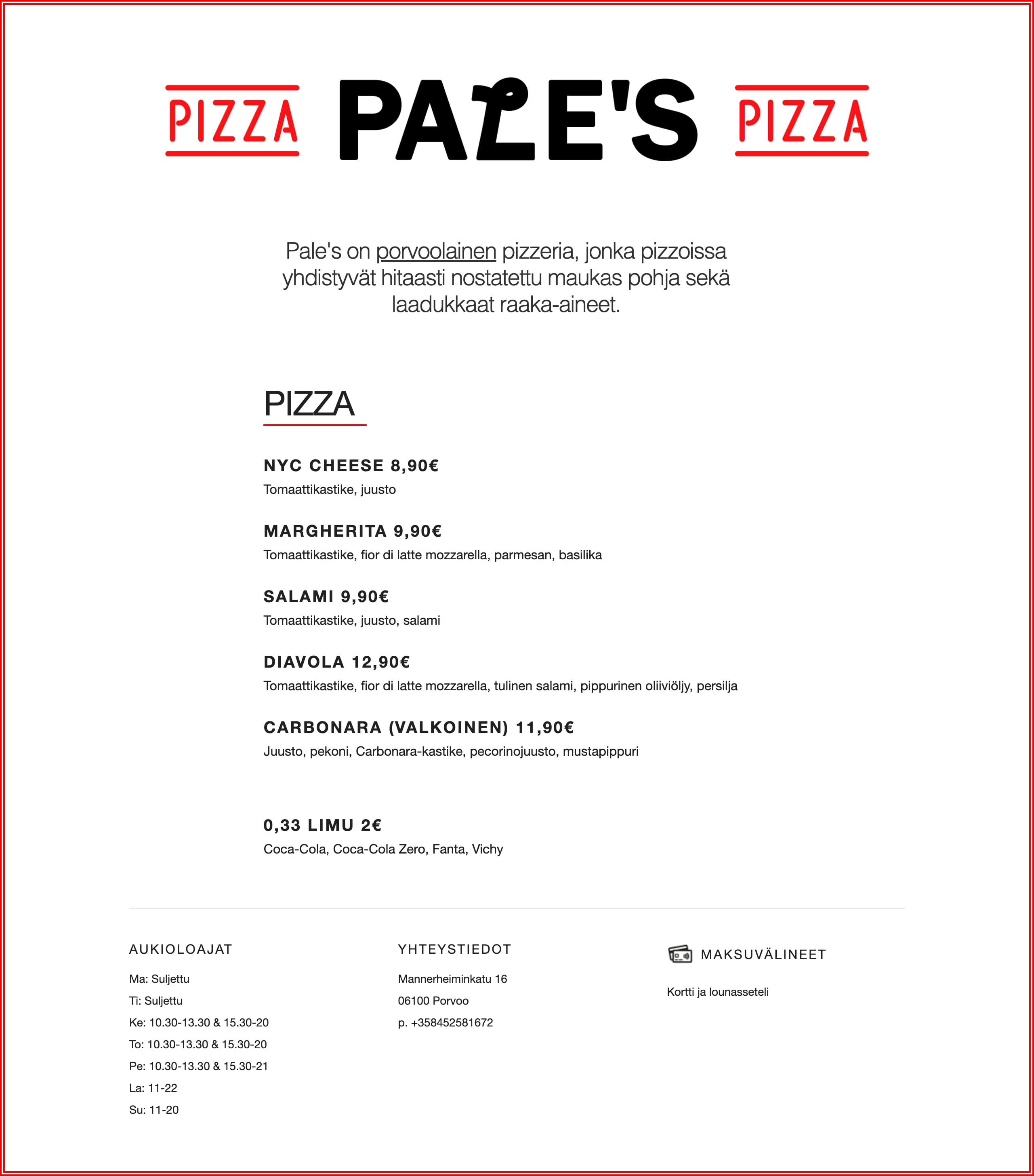 Pizzeria Pale's Website Screenshot
