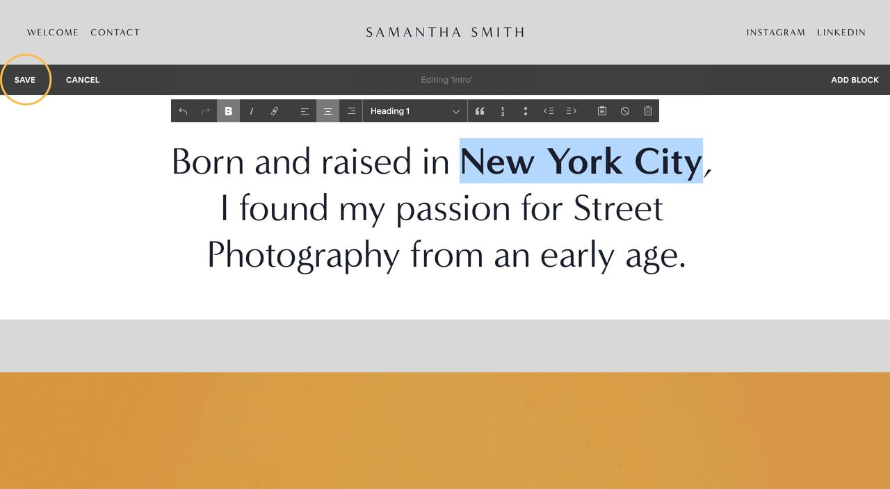 Replacing and styling text within Squarespace content blocks Screenshot