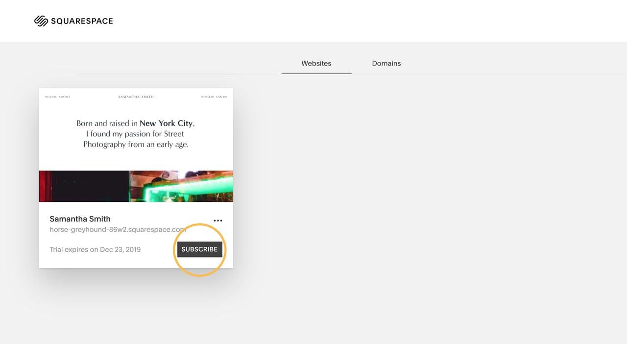 Squarespace account dashboard link Screenshot