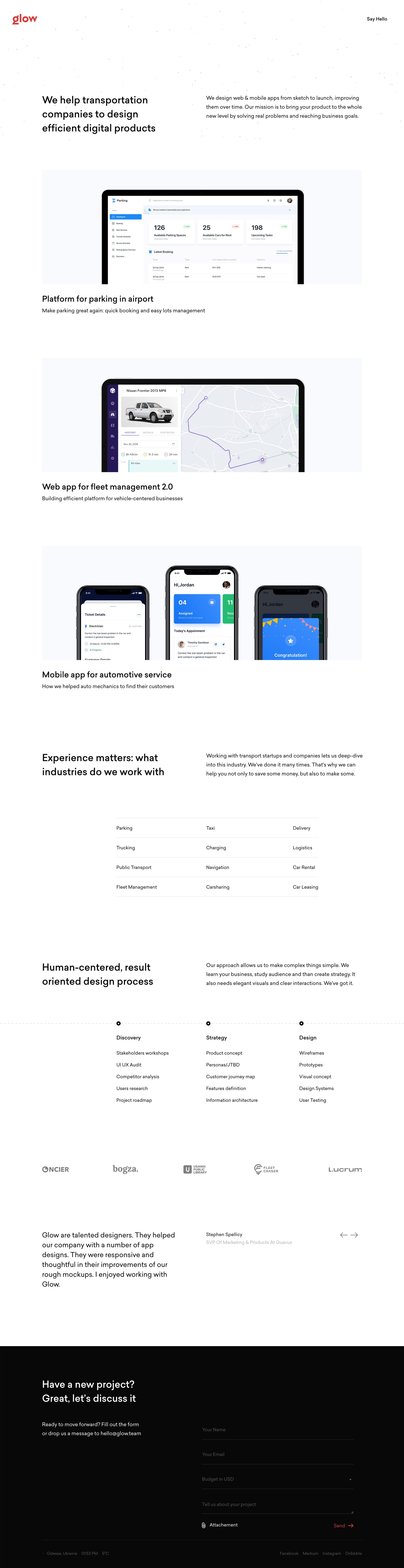 Glow Website Screenshot