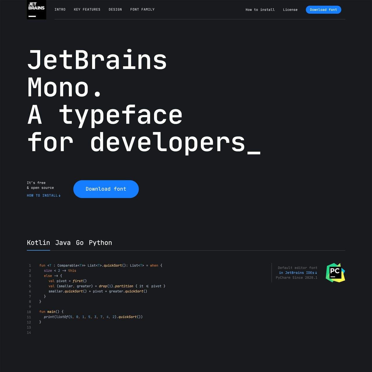 JetBrains Mono Website Screenshot