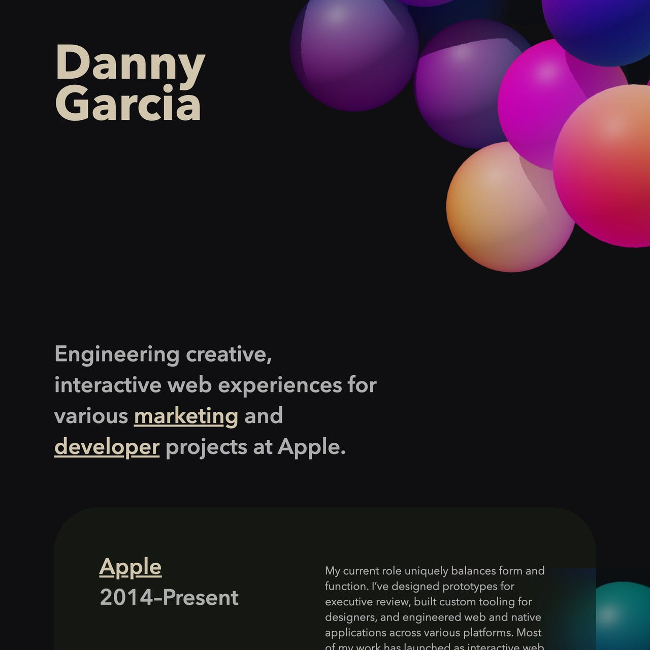 Danny Garcia Website Screenshot