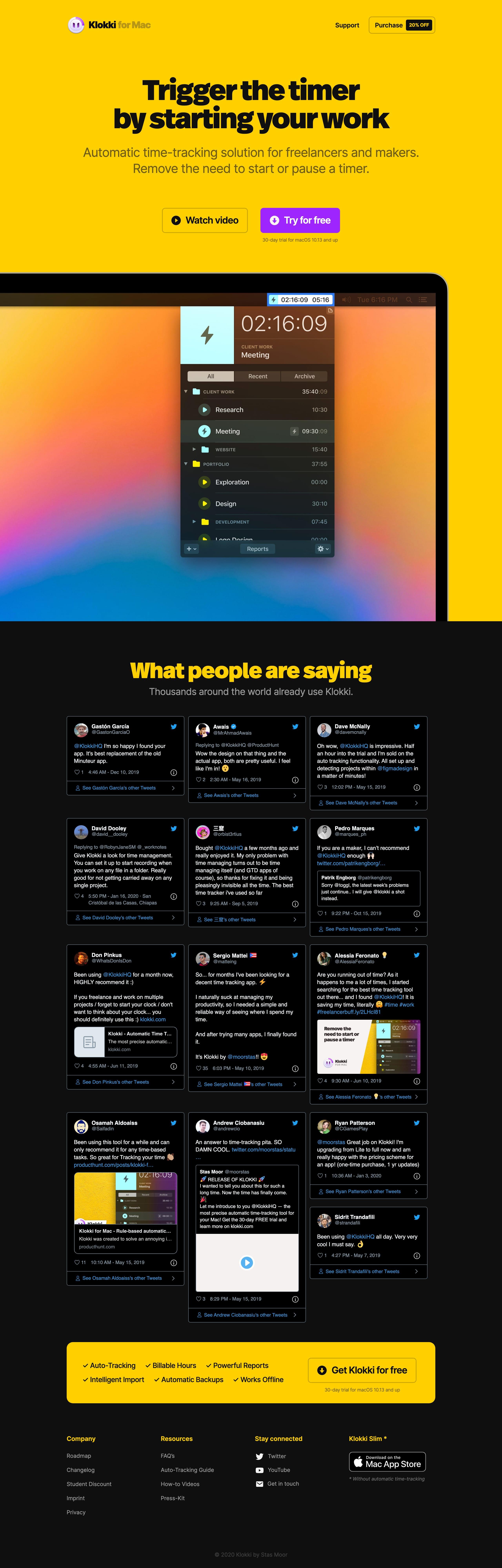 Klokki Website Screenshot