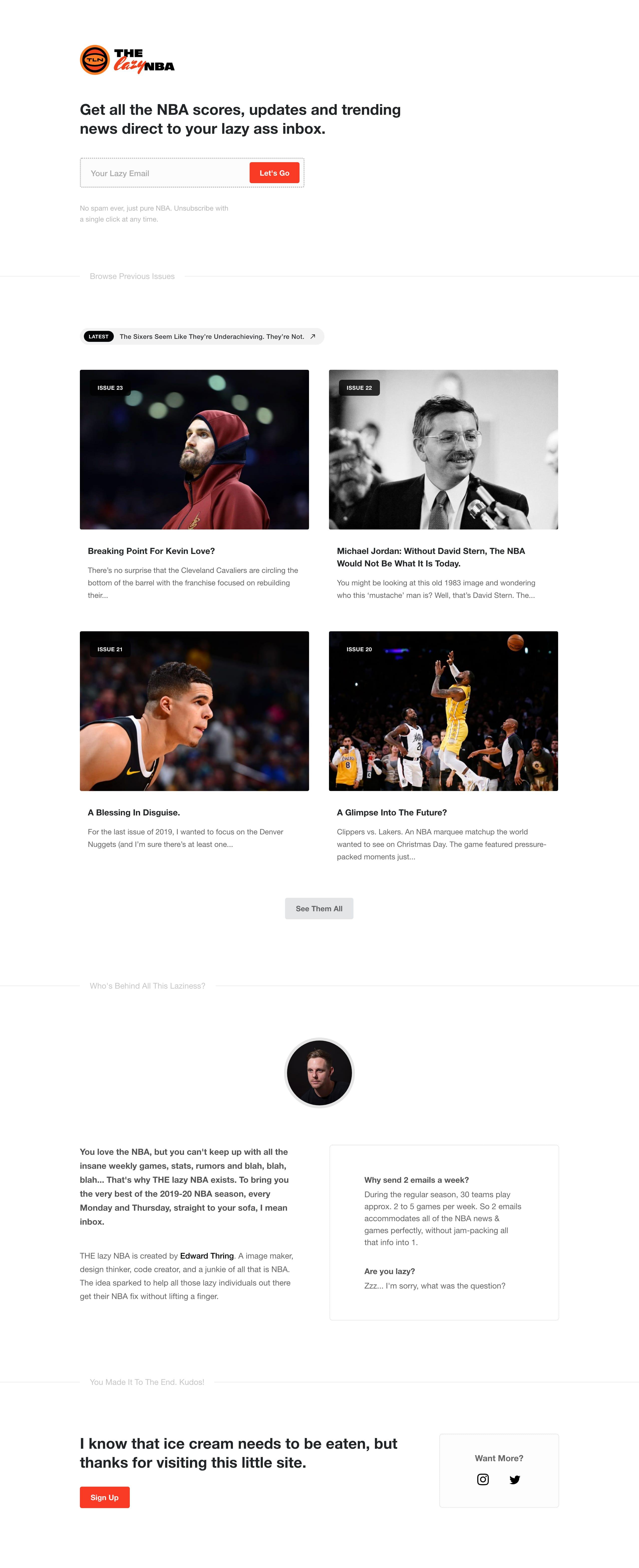 THE lazy NBA Website Screenshot